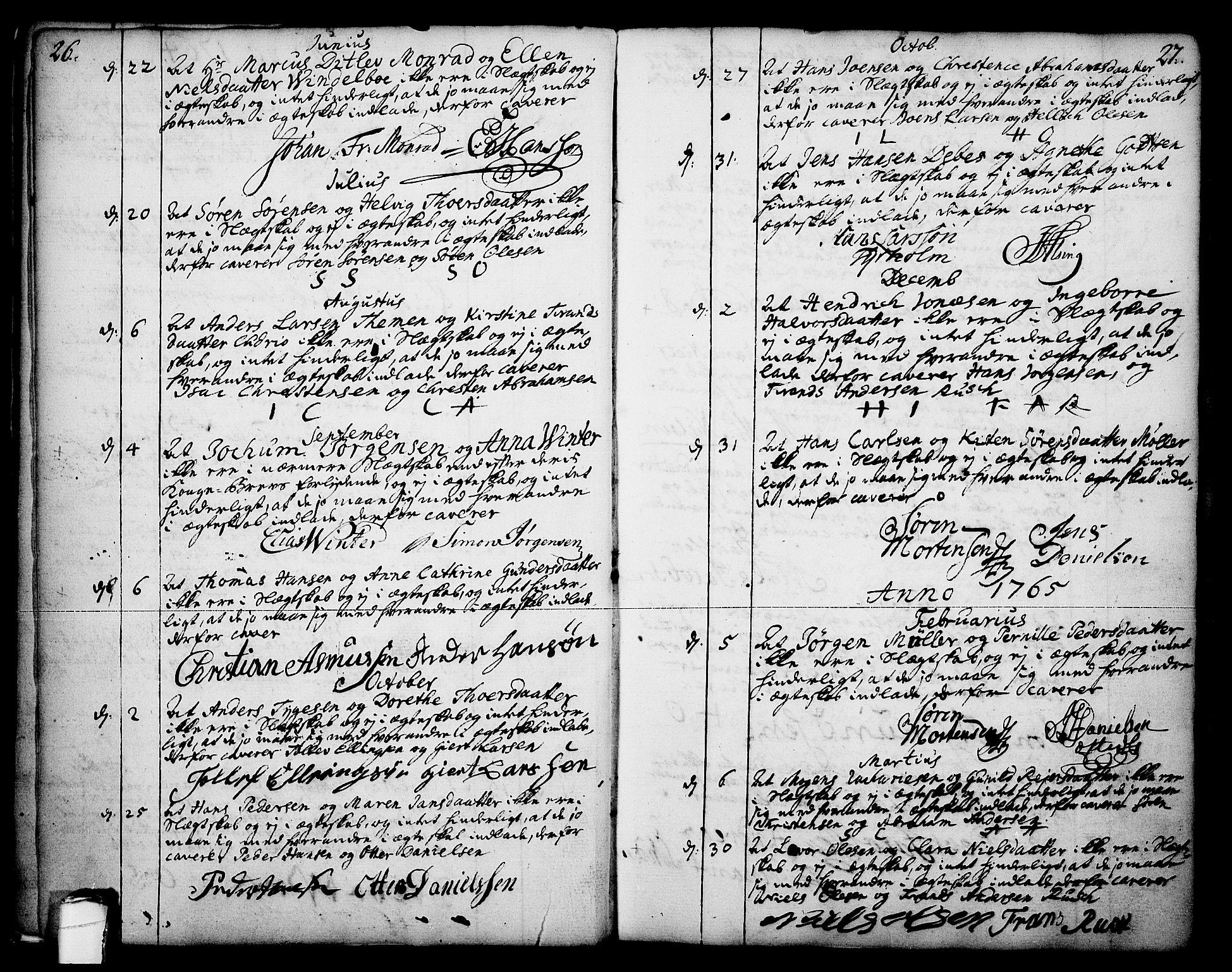 SAKO, Skien kirkebøker, F/Fa/L0003: Ministerialbok nr. 3, 1755-1791, s. 26-27