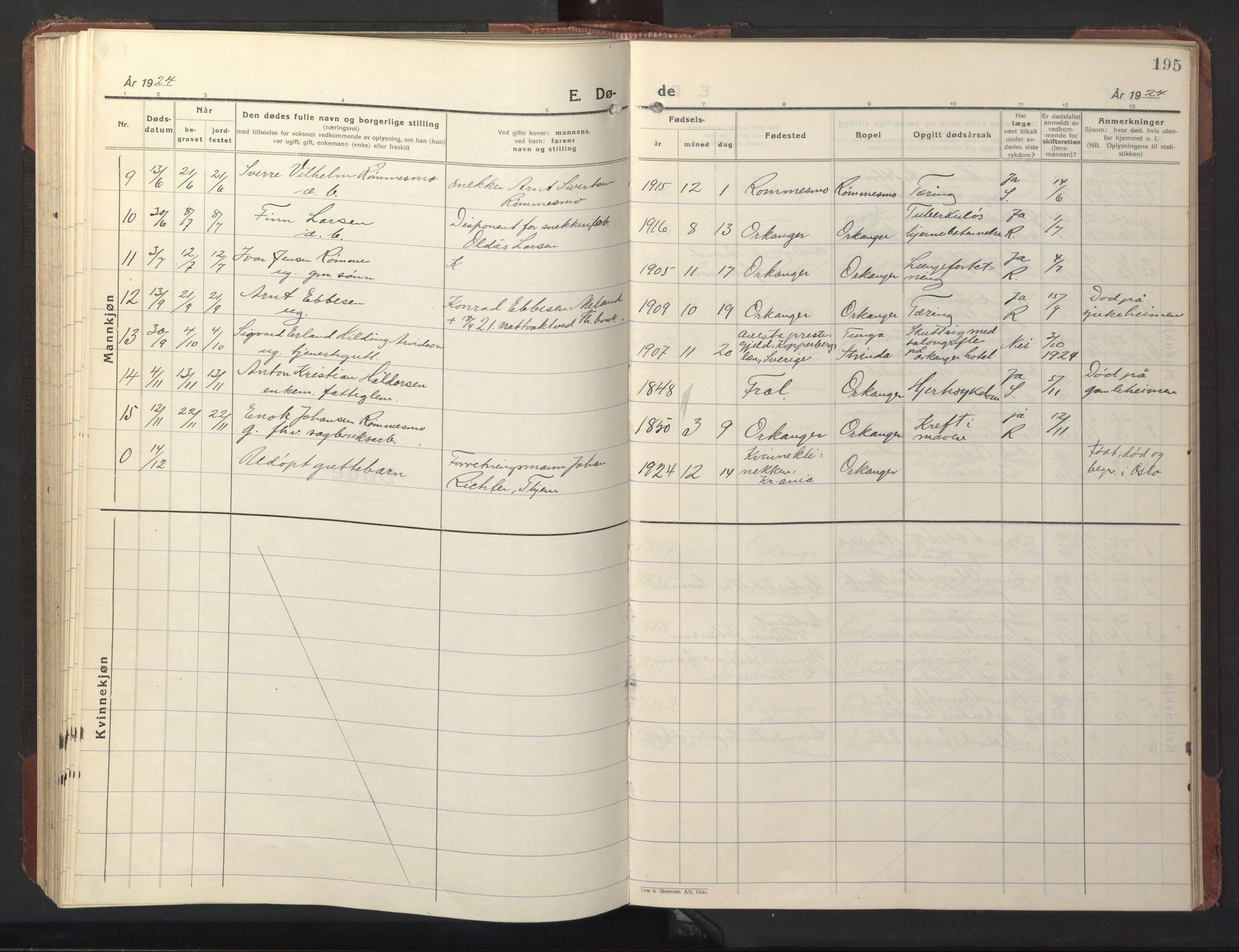 SAT, Ministerialprotokoller, klokkerbøker og fødselsregistre - Sør-Trøndelag, 669/L0832: Klokkerbok nr. 669C02, 1925-1953, s. 195