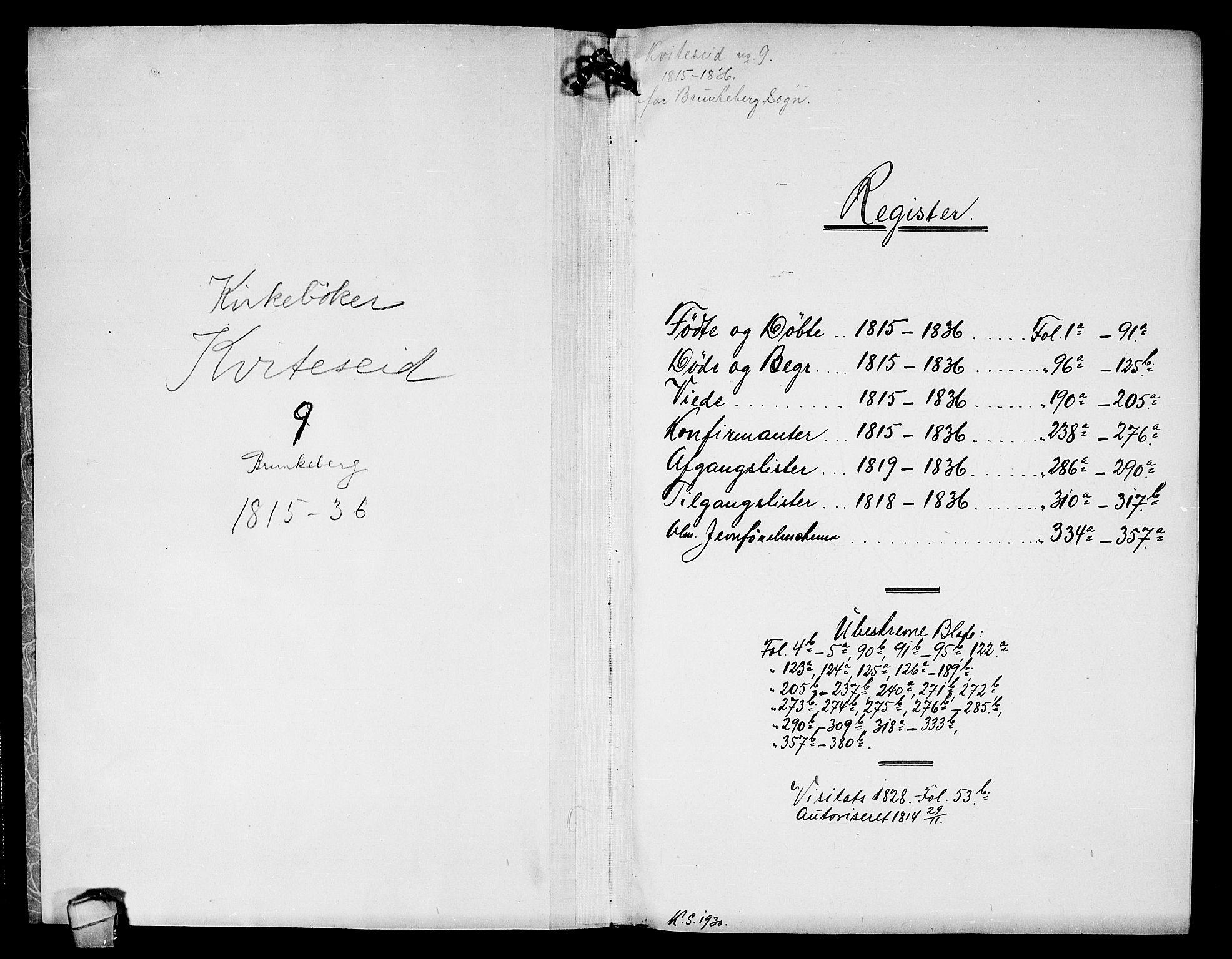 SAKO, Kviteseid kirkebøker, F/Fb/L0001: Ministerialbok nr. II 1, 1815-1836