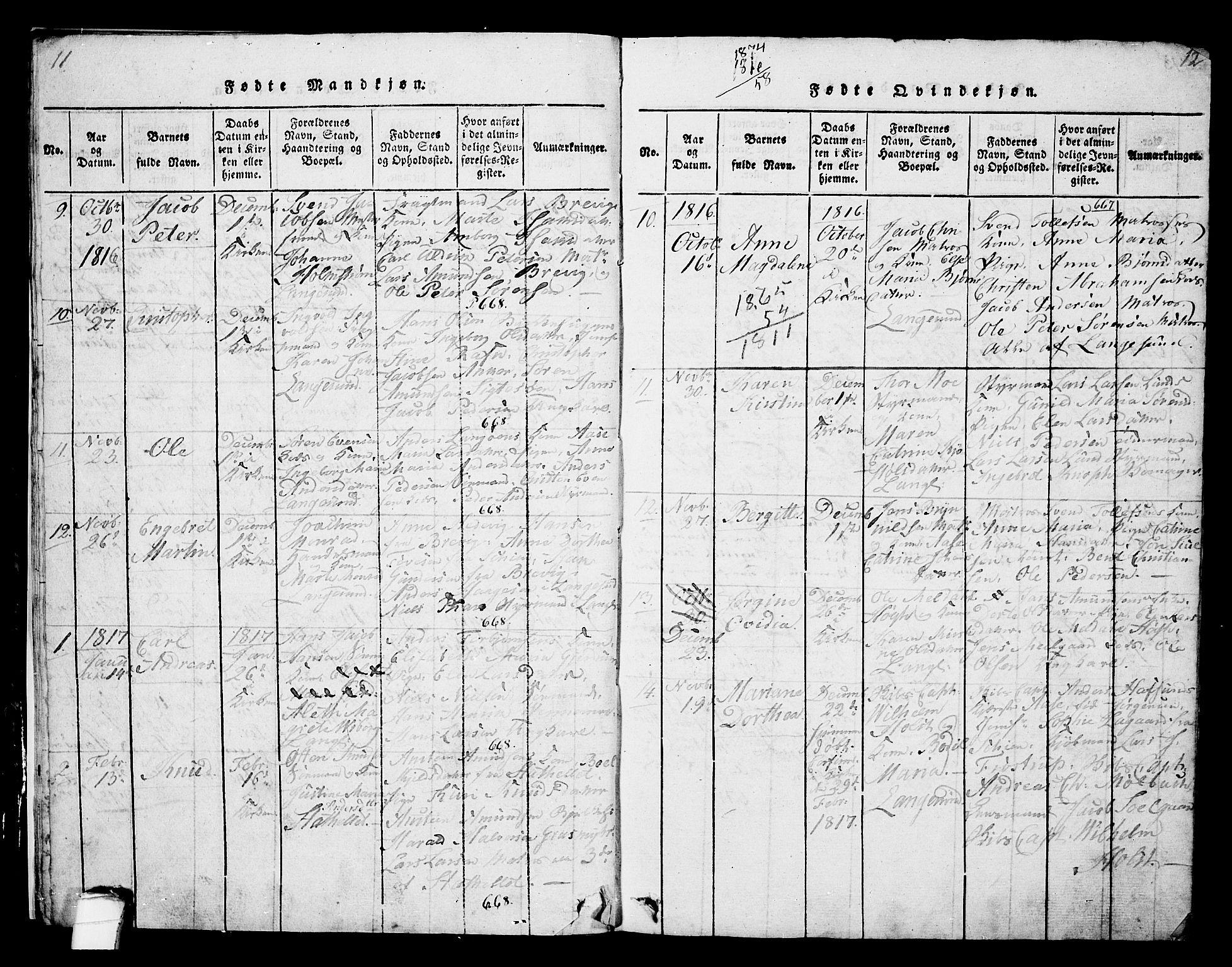 SAKO, Langesund kirkebøker, G/Ga/L0003: Klokkerbok nr. 3, 1815-1858, s. 11-12