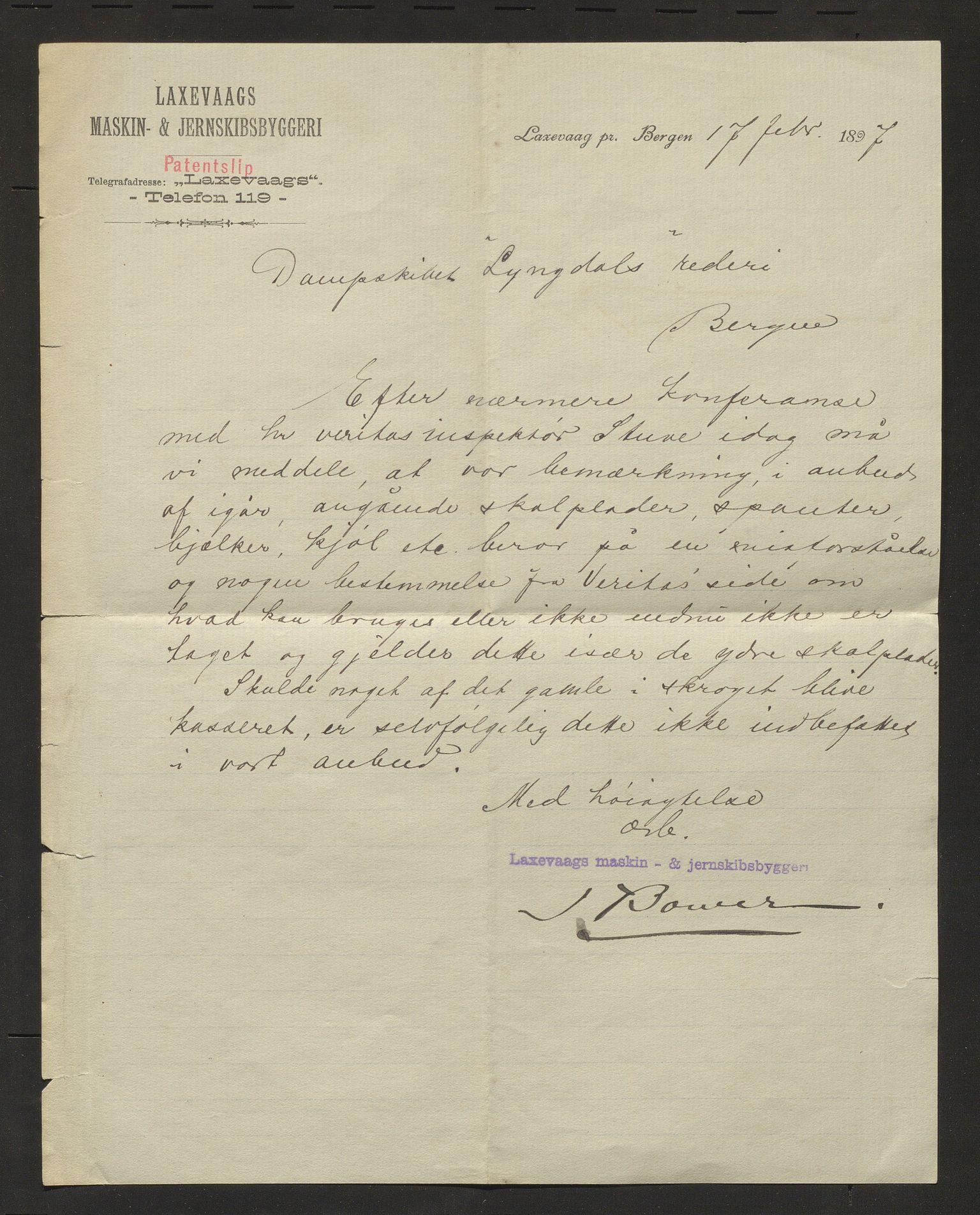 IKAH, Lyngedals dampskipsselskap, E/Ea/L0001: Korrespondanse , 1897