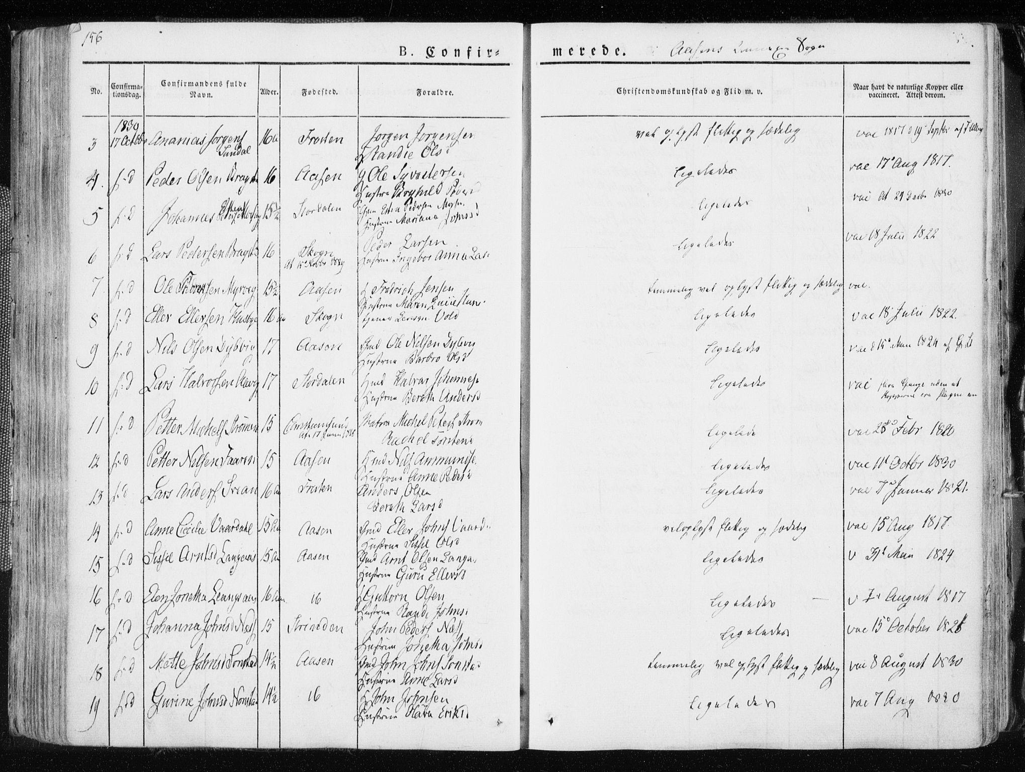 SAT, Ministerialprotokoller, klokkerbøker og fødselsregistre - Nord-Trøndelag, 713/L0114: Ministerialbok nr. 713A05, 1827-1839, s. 156