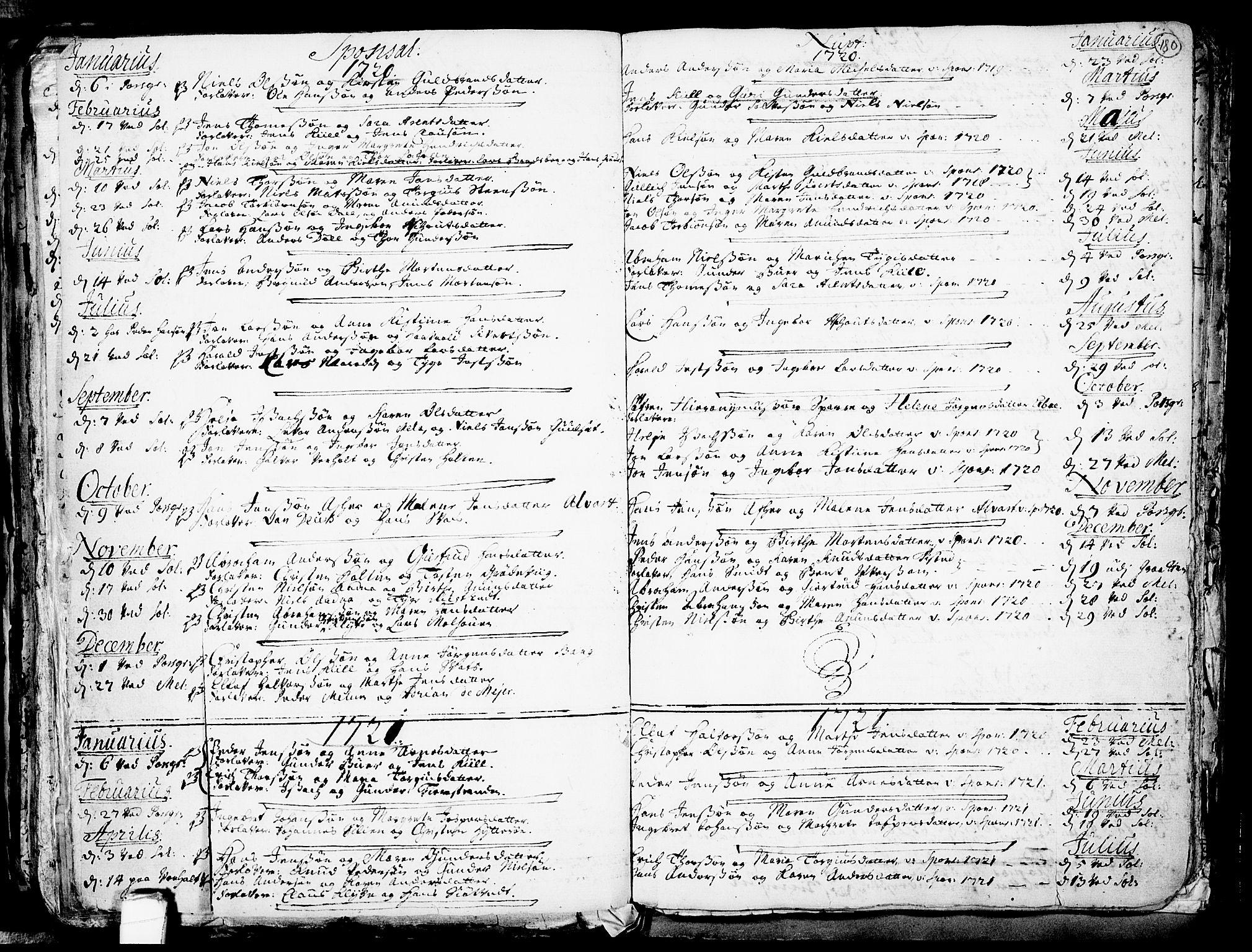 SAKO, Solum kirkebøker, F/Fa/L0002: Ministerialbok nr. I 2, 1713-1761, s. 180