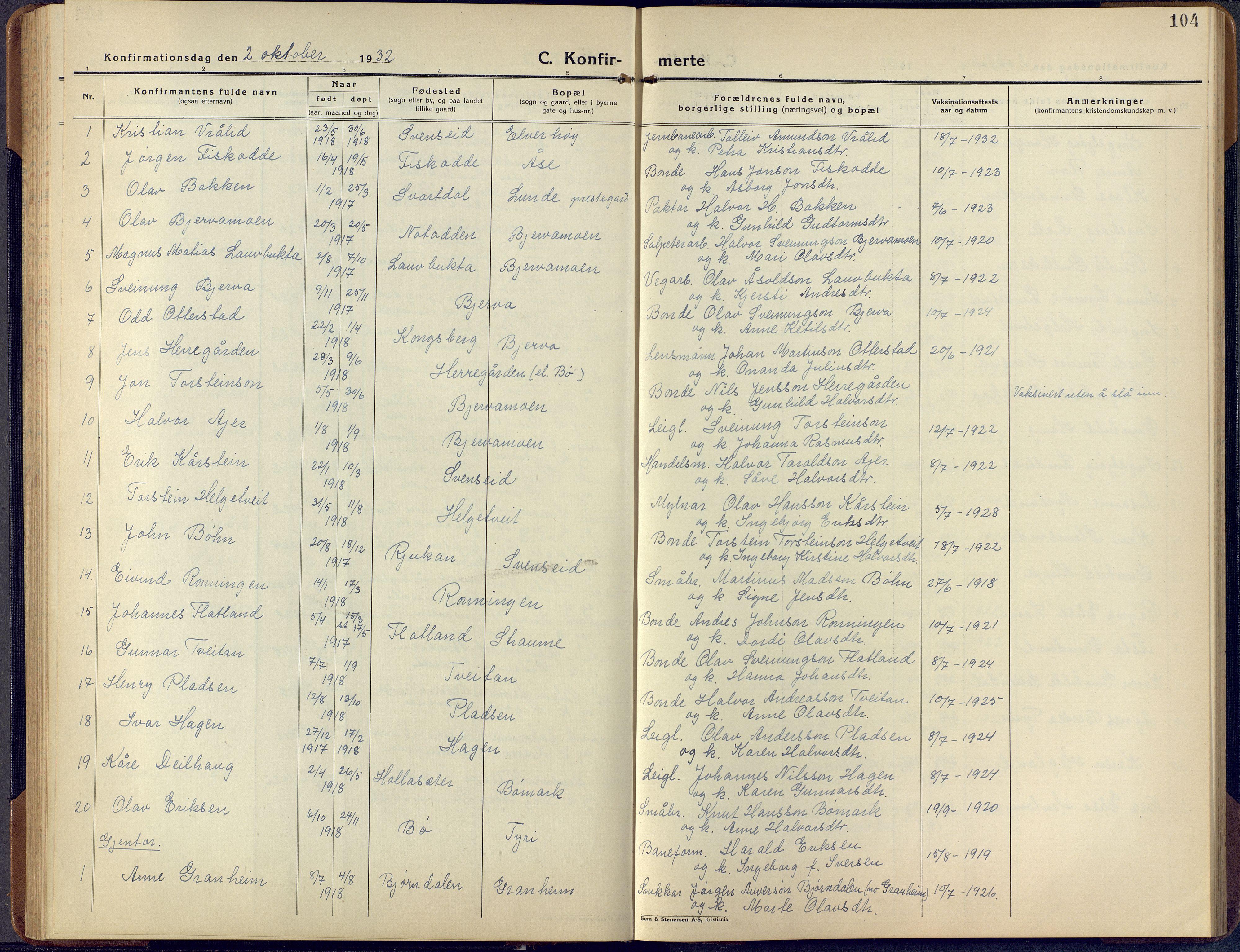 SAKO, Lunde kirkebøker, F/Fa/L0006: Ministerialbok nr. I 6, 1922-1940, s. 104