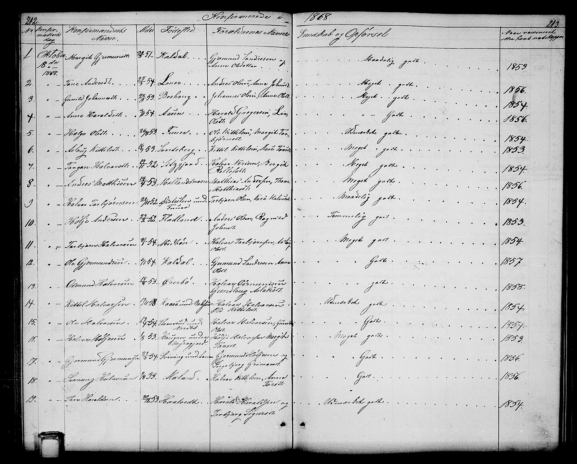 SAKO, Hjartdal kirkebøker, G/Ga/L0002: Klokkerbok nr. I 2, 1854-1888, s. 212-213