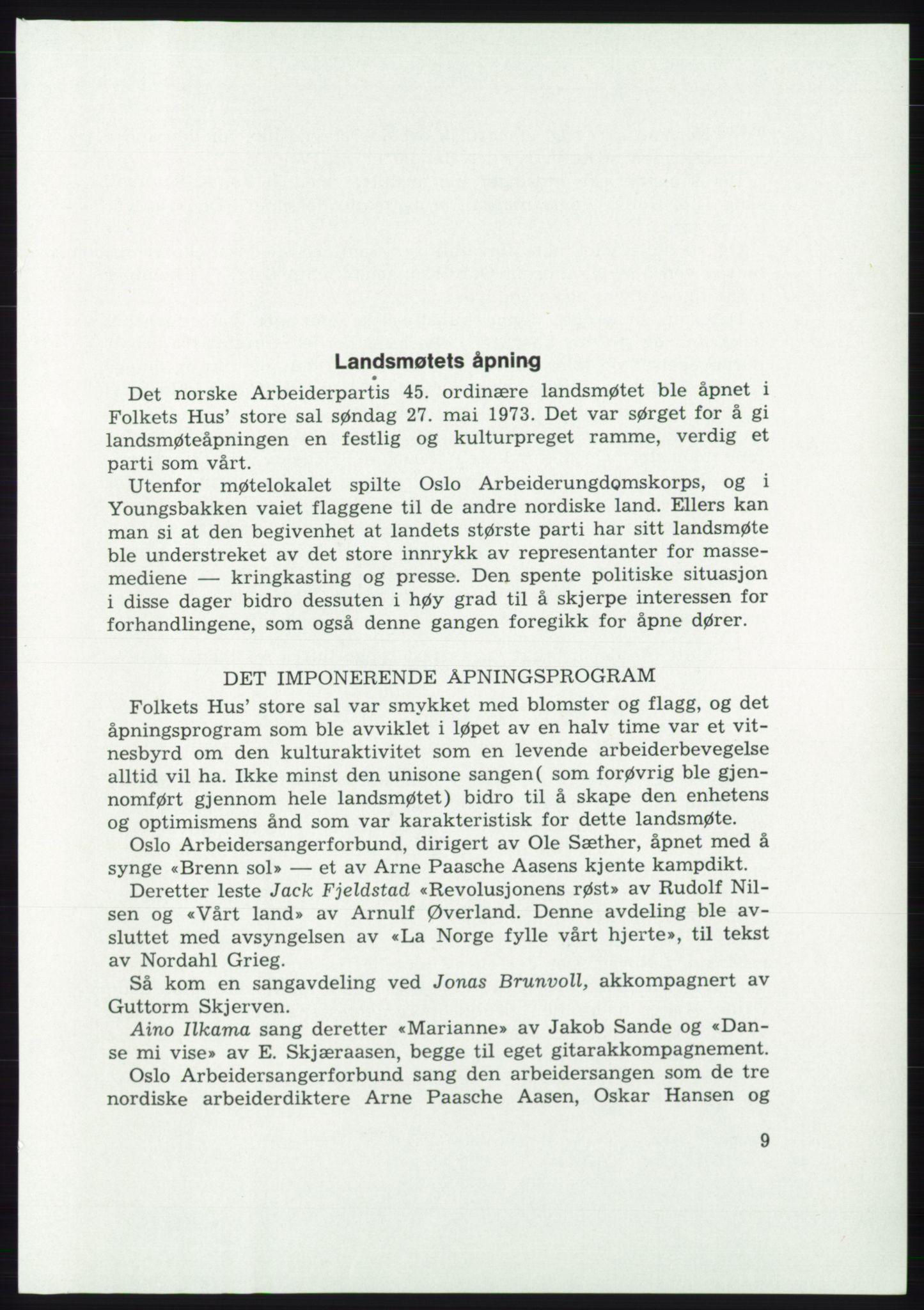 AAB, Det norske Arbeiderparti - publikasjoner, -/-: Protokoll over forhandlingene på det 45. ordinære landsmøte 27.-30. mai 1973 i Oslo, 1973, s. 9