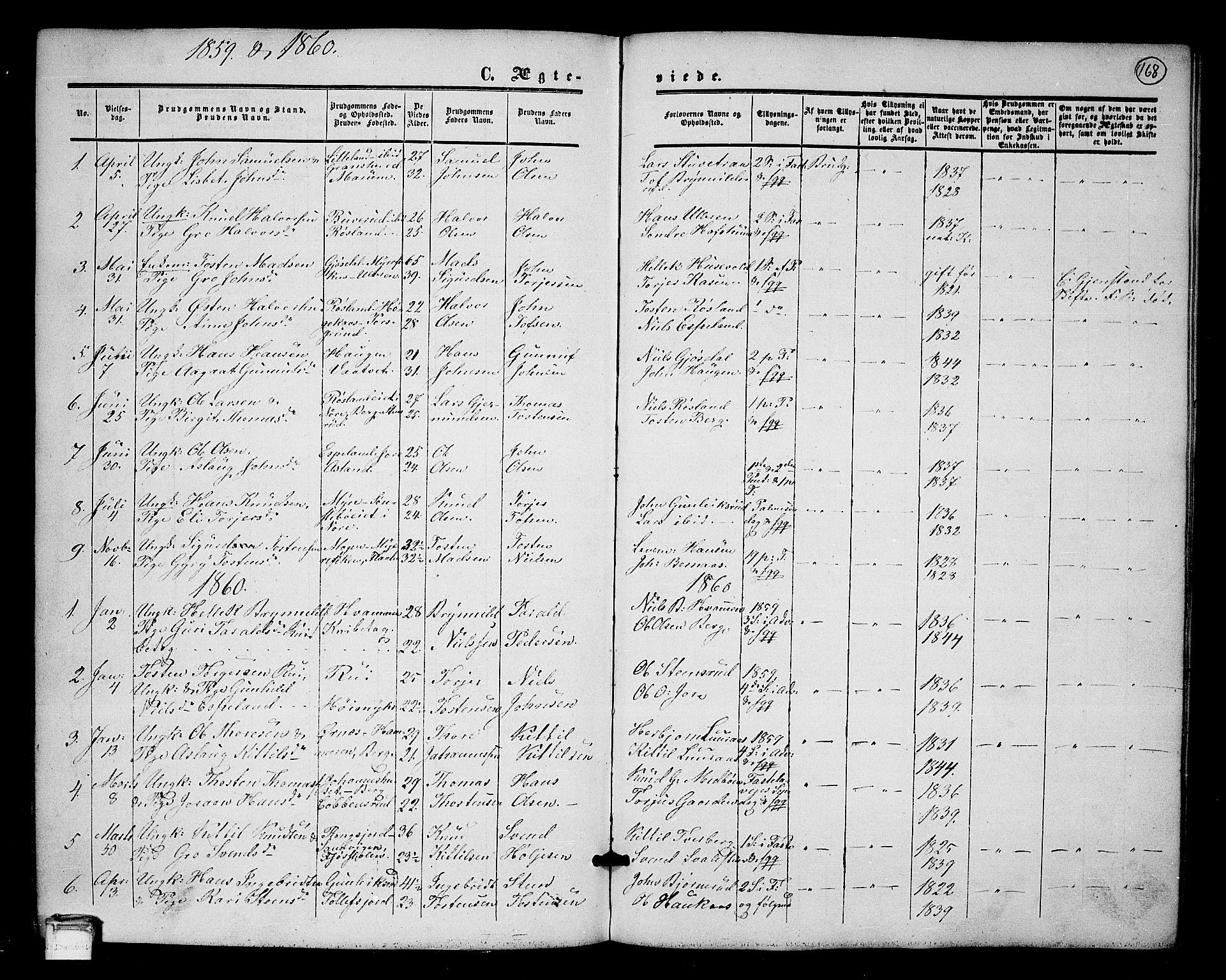 SAKO, Tinn kirkebøker, G/Ga/L0002: Klokkerbok nr. I 2, 1851-1883, s. 168