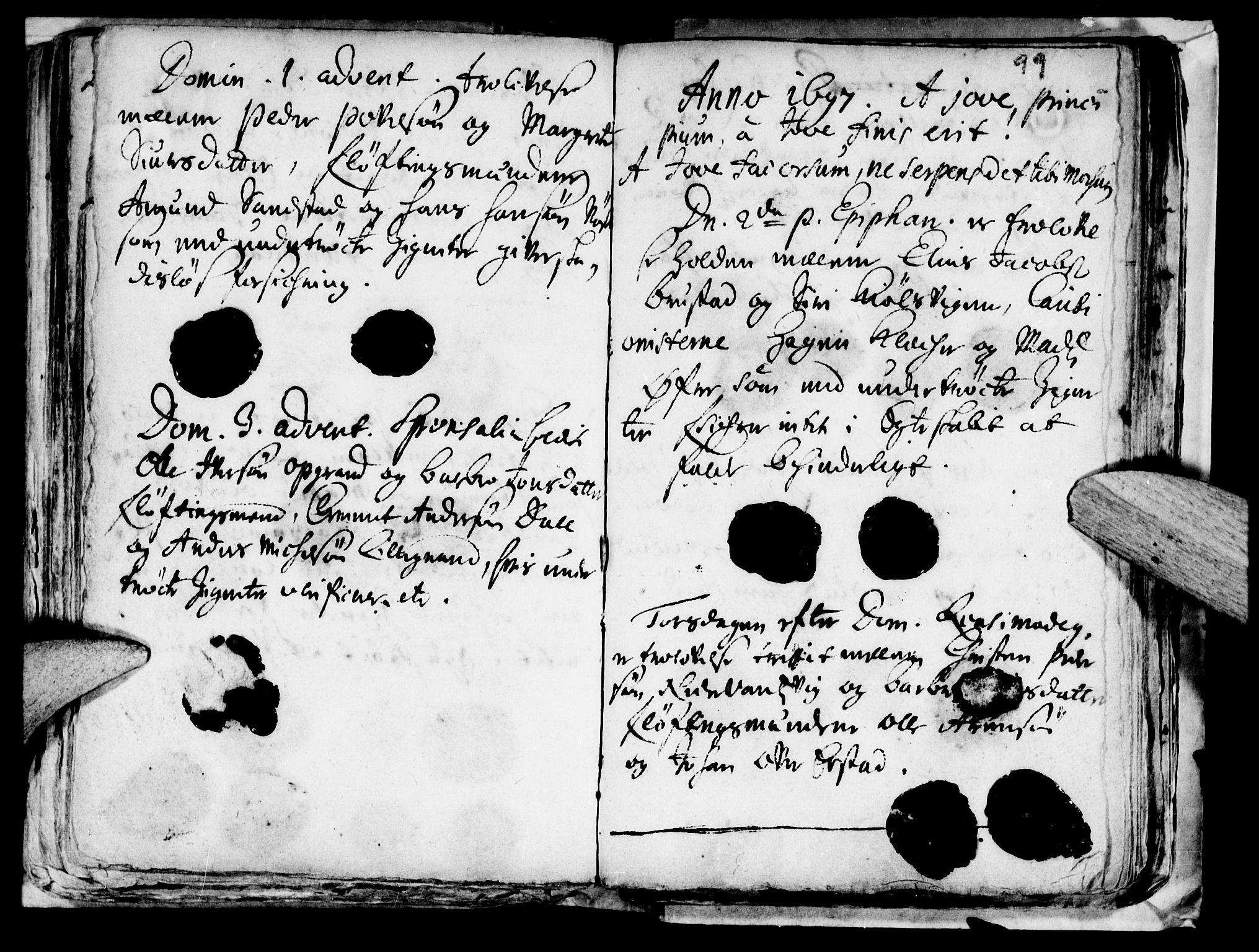SAT, Ministerialprotokoller, klokkerbøker og fødselsregistre - Nord-Trøndelag, 722/L0214: Ministerialbok nr. 722A01, 1692-1718, s. 99