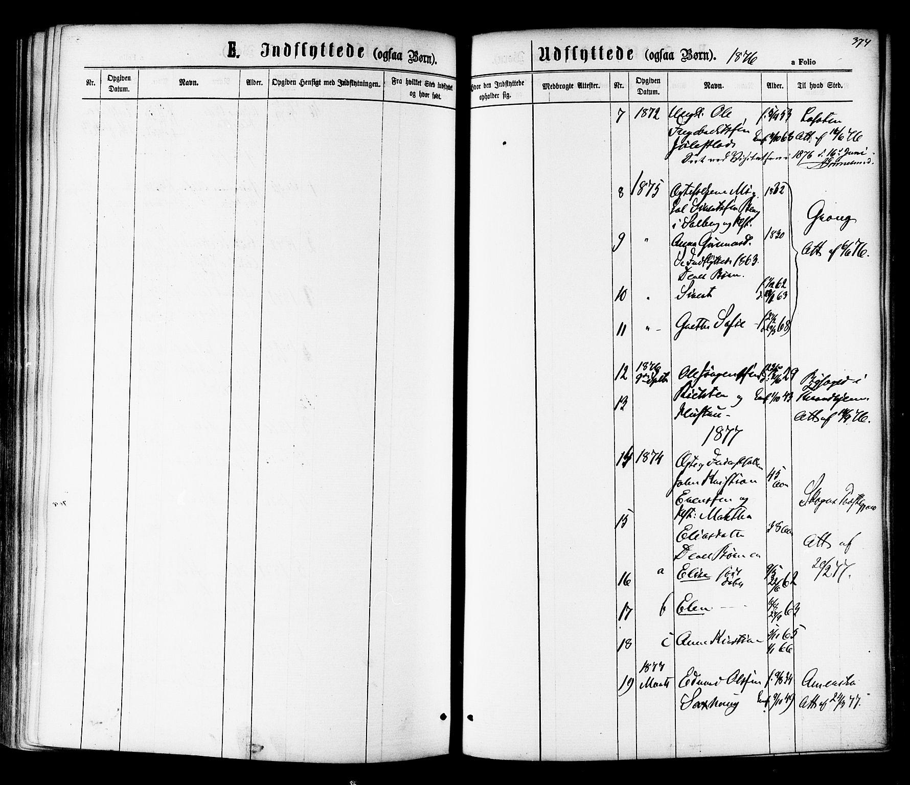 SAT, Ministerialprotokoller, klokkerbøker og fødselsregistre - Nord-Trøndelag, 730/L0284: Ministerialbok nr. 730A09, 1866-1878, s. 374