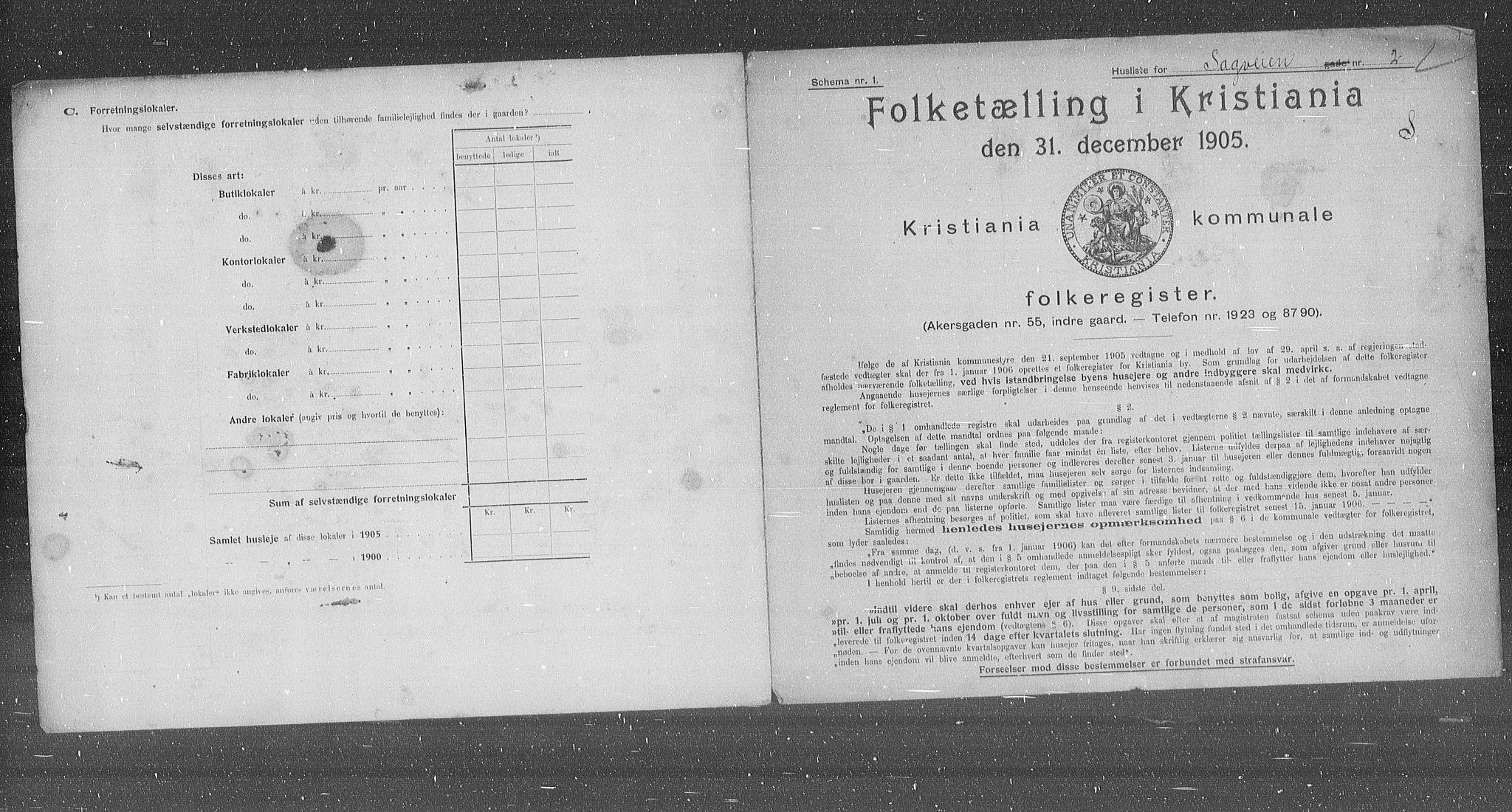 OBA, Kommunal folketelling 1905 for Kristiania kjøpstad, 1905, s. 45438