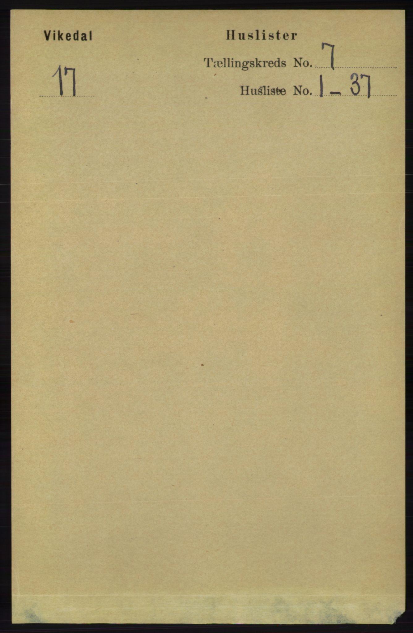 RA, Folketelling 1891 for 1157 Vikedal herred, 1891, s. 1992