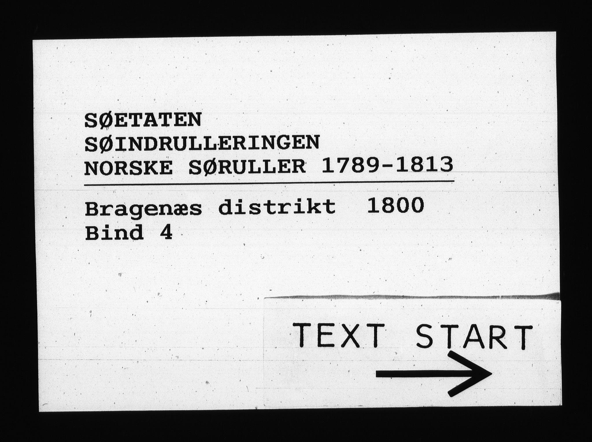 RA, Sjøetaten, F/L0131: Bragernes distrikt, bind 4, 1800