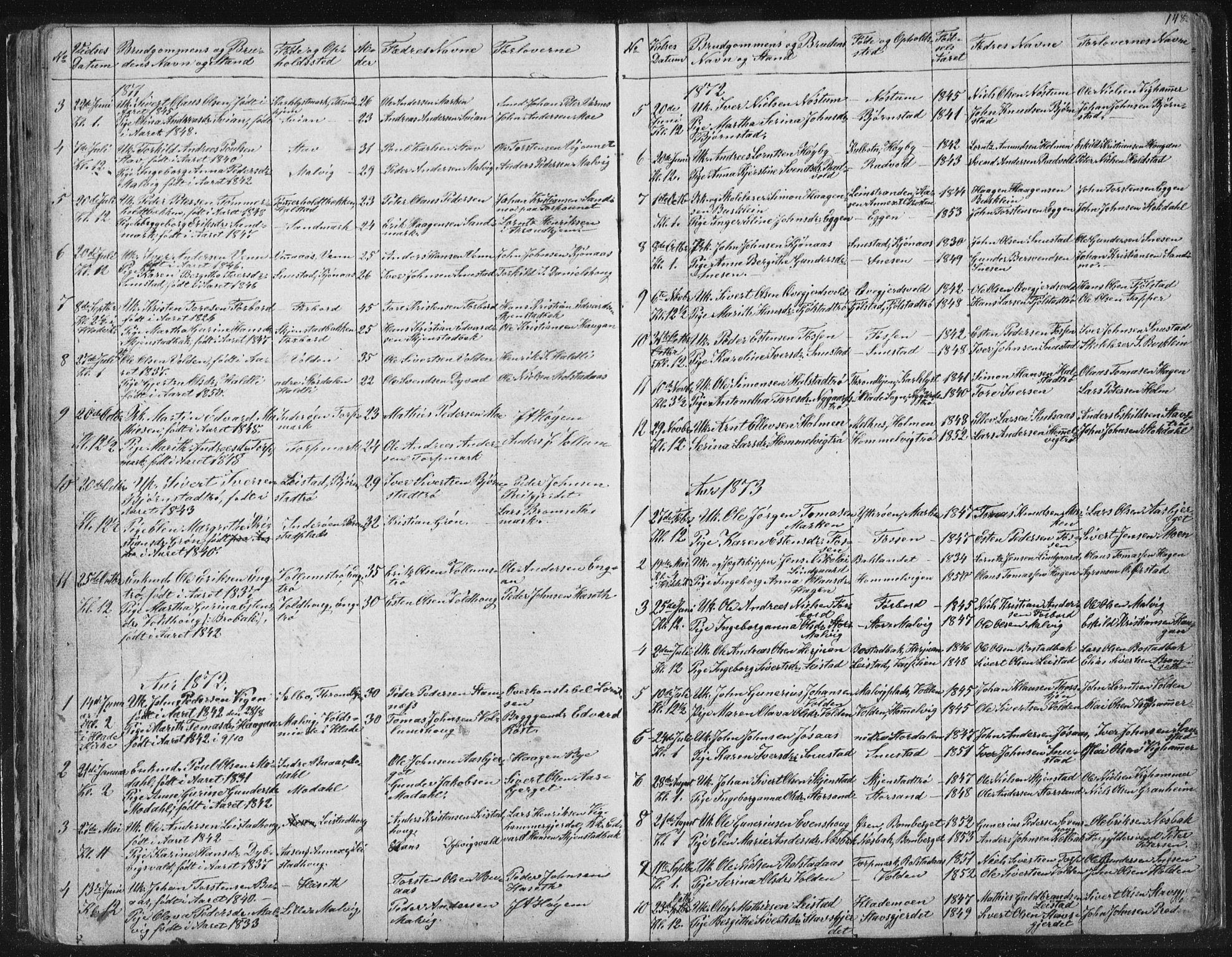 SAT, Ministerialprotokoller, klokkerbøker og fødselsregistre - Sør-Trøndelag, 616/L0406: Ministerialbok nr. 616A03, 1843-1879, s. 148