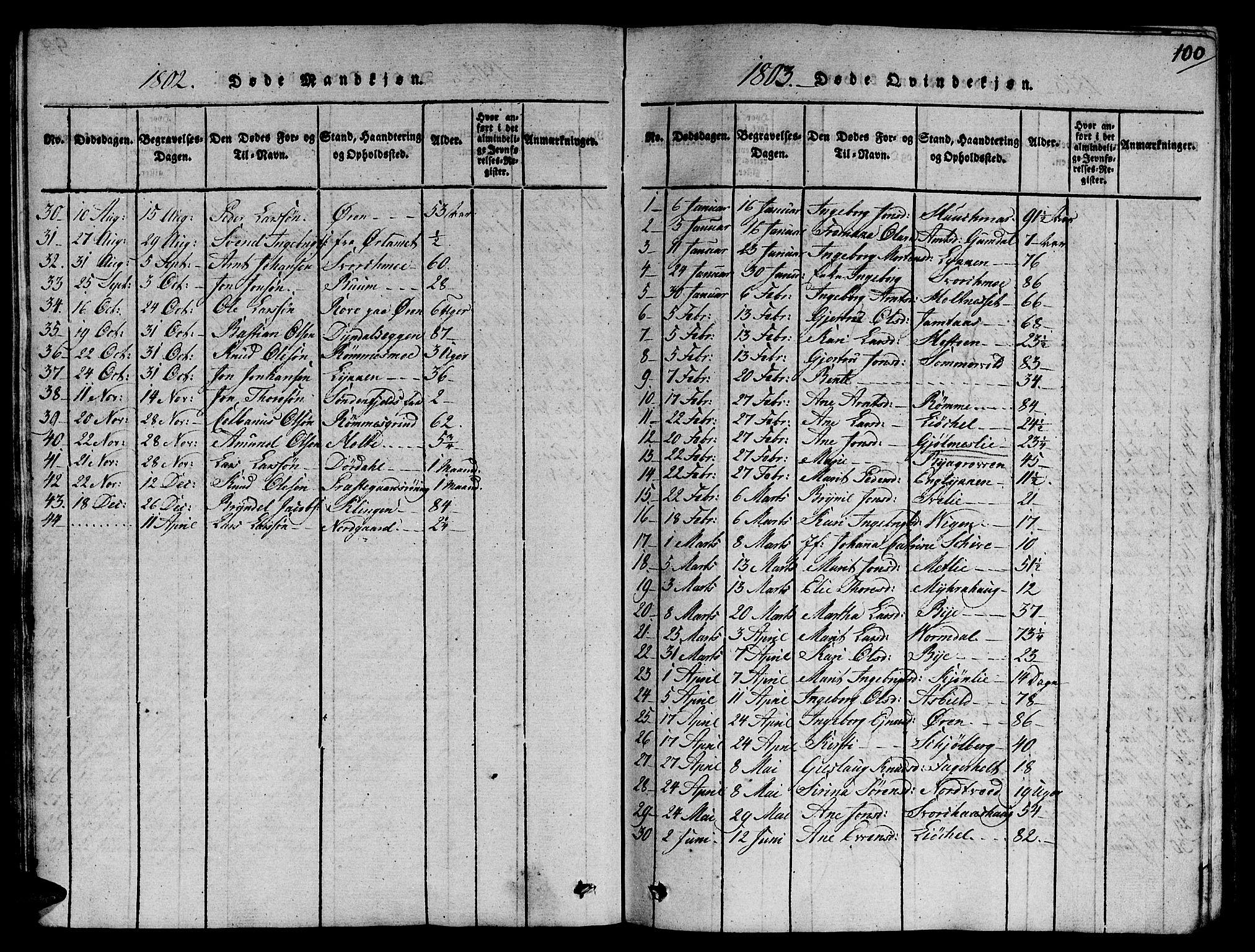 SAT, Ministerialprotokoller, klokkerbøker og fødselsregistre - Sør-Trøndelag, 668/L0803: Ministerialbok nr. 668A03, 1800-1826, s. 100
