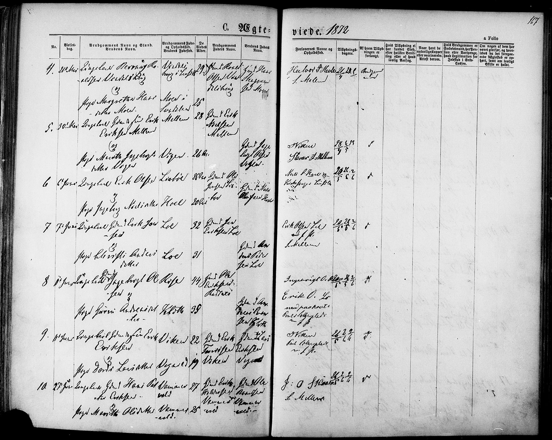 SAT, Ministerialprotokoller, klokkerbøker og fødselsregistre - Sør-Trøndelag, 678/L0900: Ministerialbok nr. 678A09, 1872-1881, s. 167