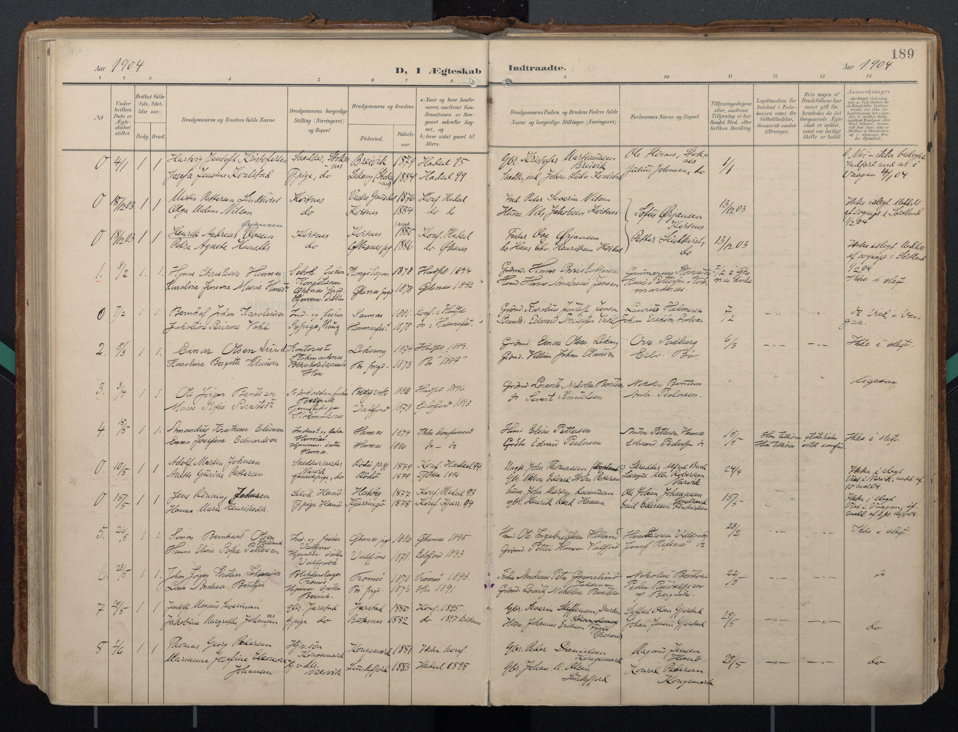SAT, Ministerialprotokoller, klokkerbøker og fødselsregistre - Nordland, 888/L1248: Ministerialbok nr. 888A14, 1904-1913, s. 189