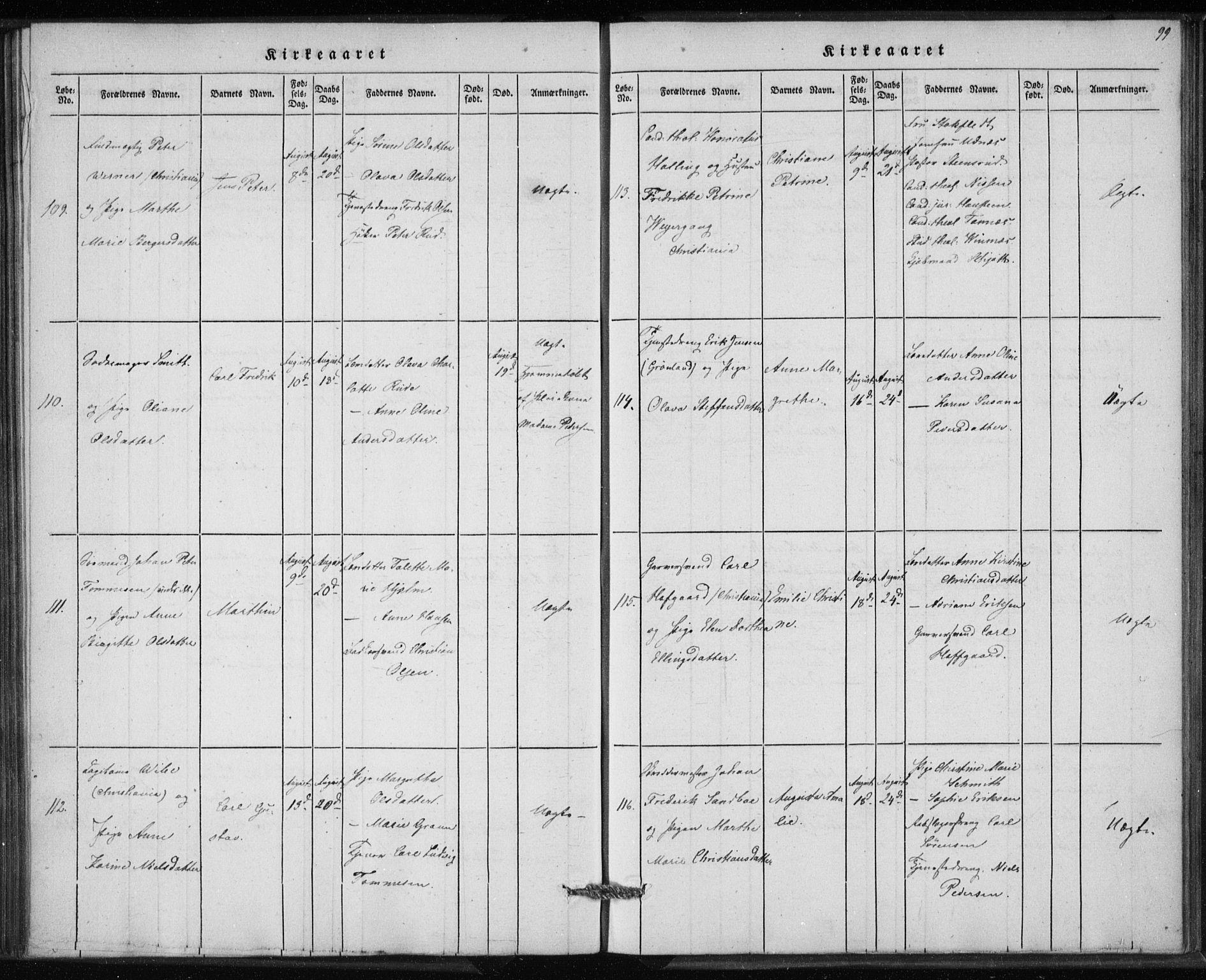 SAO, Rikshospitalet prestekontor Kirkebøker, K/L0001: Dåpsbok nr. 1.2, 1842-1847, s. 99