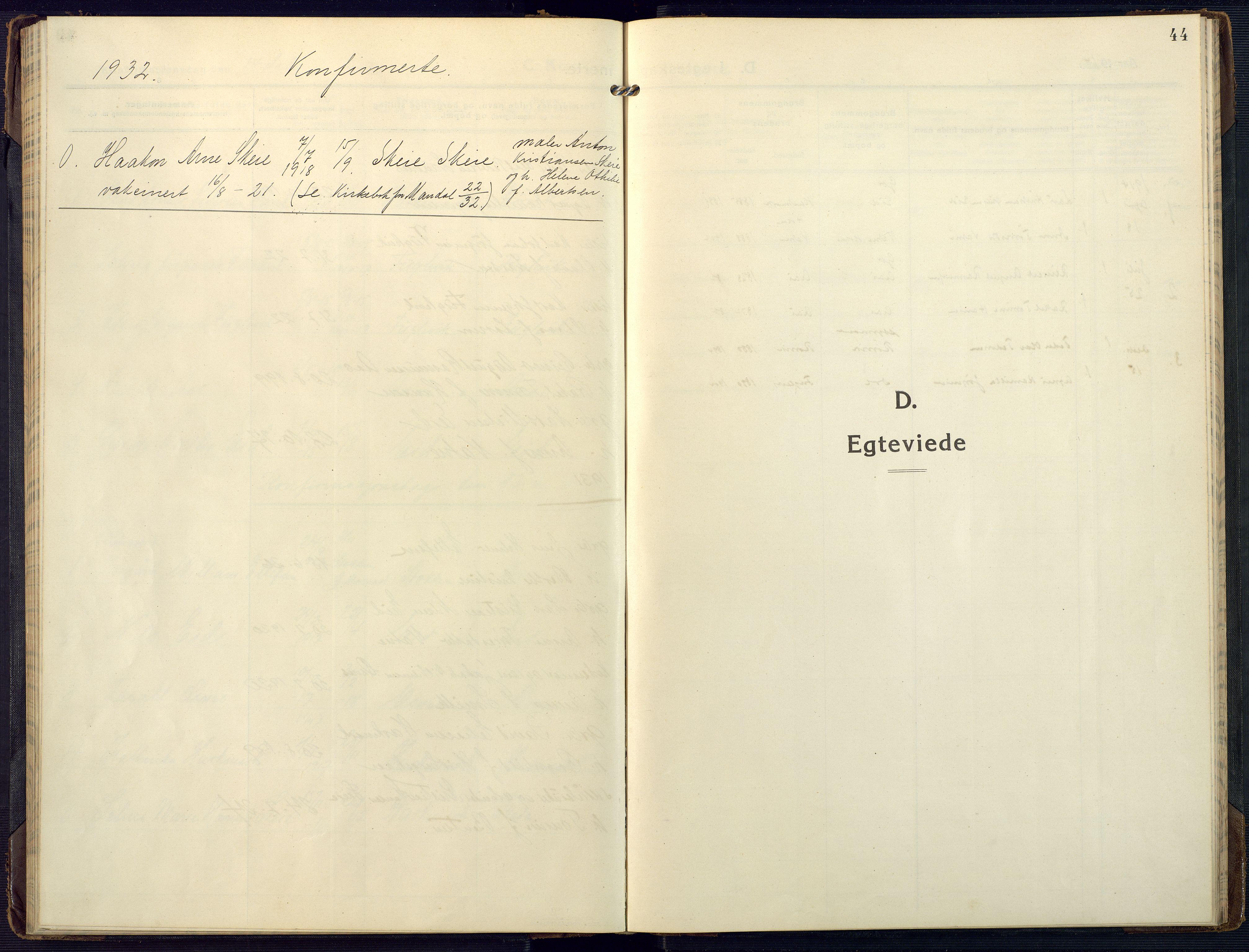 SAK, Mandal sokneprestkontor, F/Fa/Fab/L0003: Ministerialbok nr. A 3, 1913-1933, s. 44