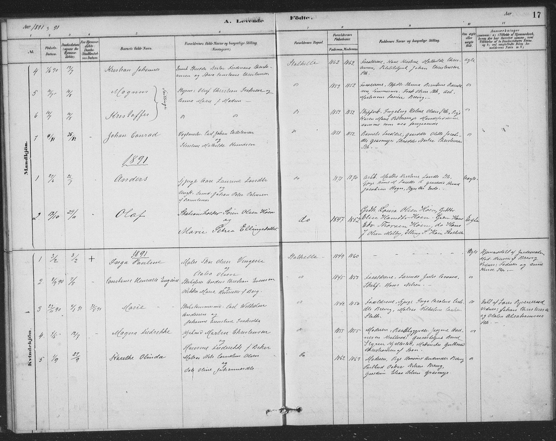 SAKO, Bamble kirkebøker, F/Fb/L0001: Ministerialbok nr. II 1, 1878-1899, s. 17