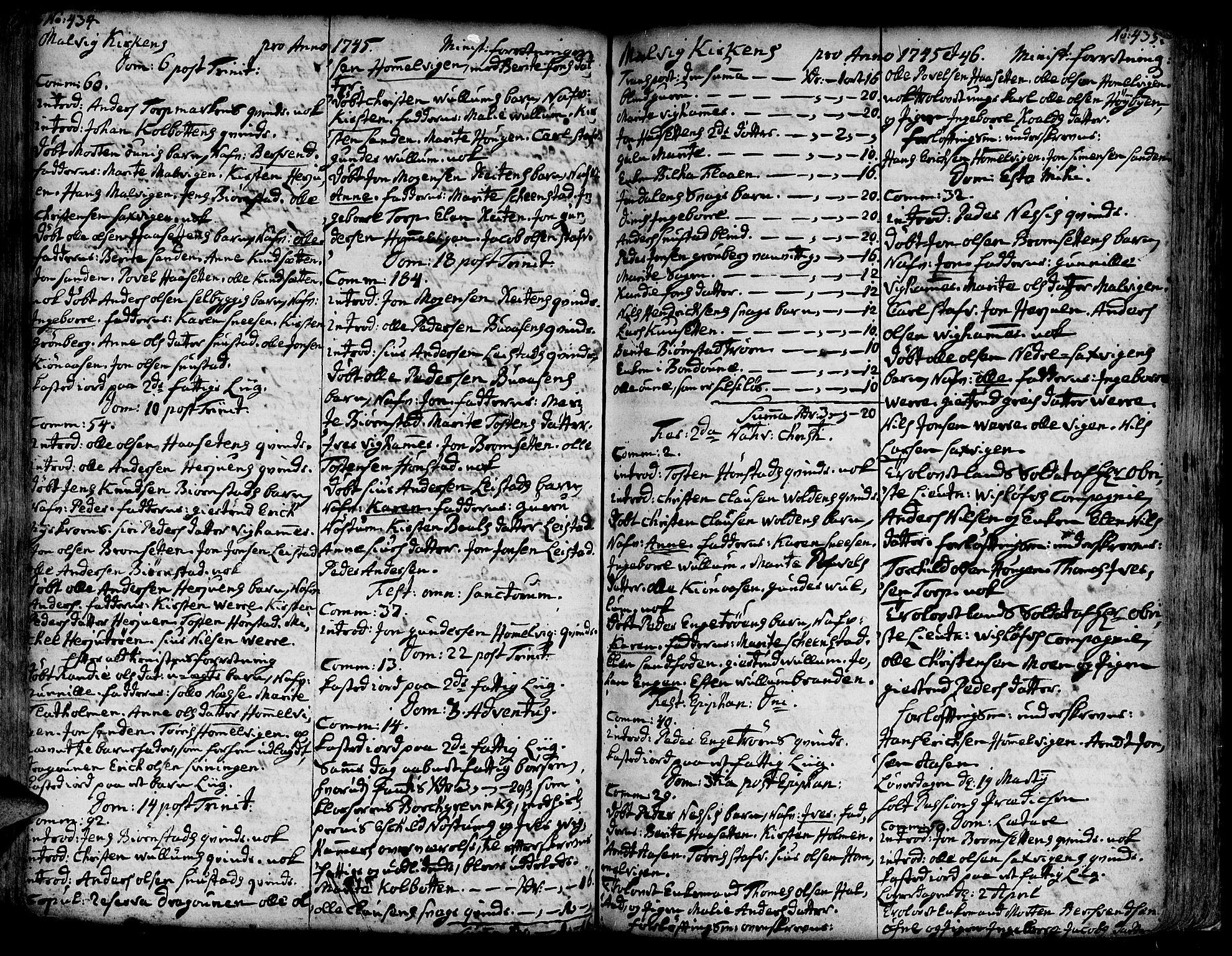 SAT, Ministerialprotokoller, klokkerbøker og fødselsregistre - Sør-Trøndelag, 606/L0277: Ministerialbok nr. 606A01 /3, 1727-1780, s. 434-435