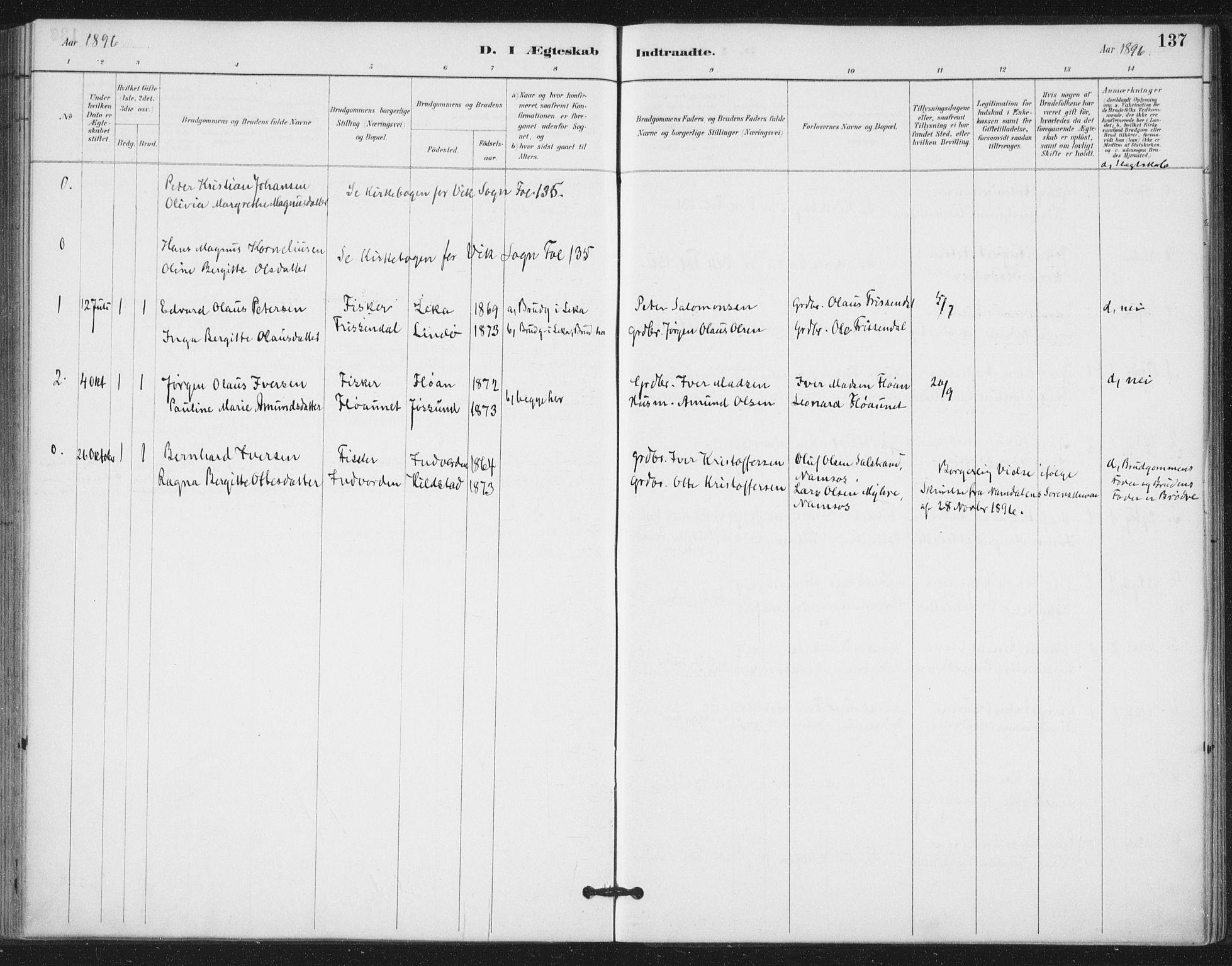 SAT, Ministerialprotokoller, klokkerbøker og fødselsregistre - Nord-Trøndelag, 772/L0603: Ministerialbok nr. 772A01, 1885-1912, s. 137