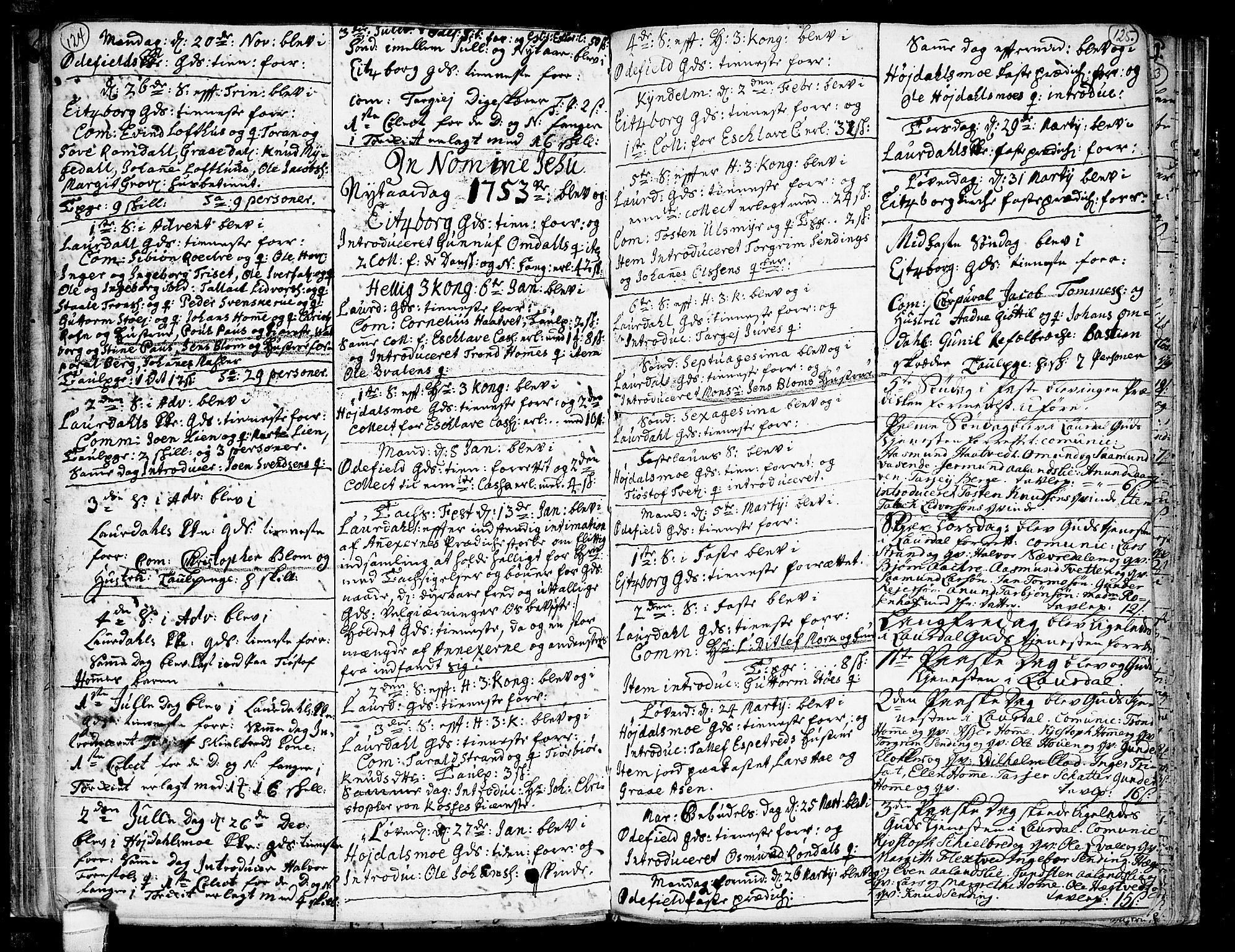 SAKO, Lårdal kirkebøker, F/Fa/L0002: Ministerialbok nr. I 2, 1734-1754, s. 124-125