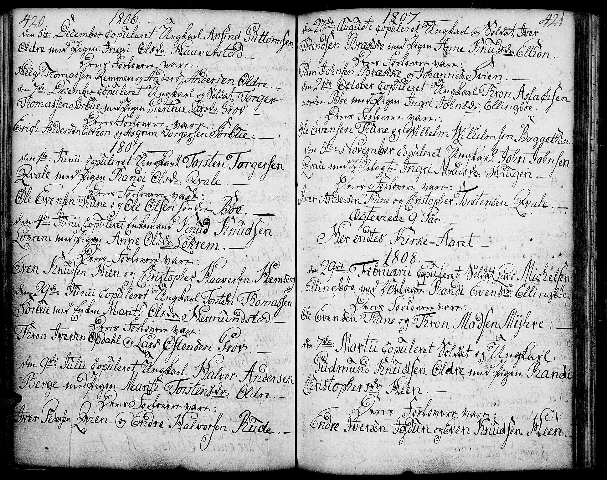SAH, Vang prestekontor, Valdres, Ministerialbok nr. 2, 1796-1808, s. 420-421