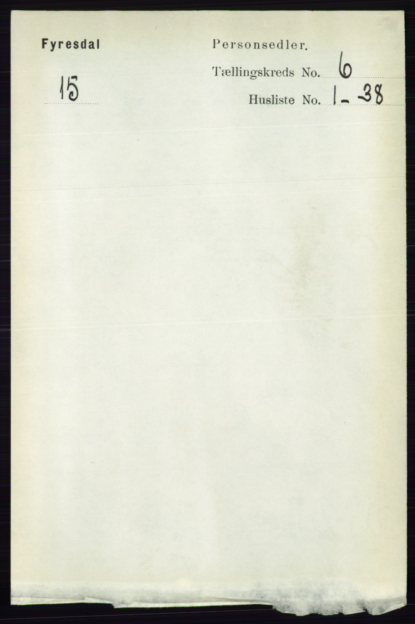 RA, Folketelling 1891 for 0831 Fyresdal herred, 1891, s. 1661