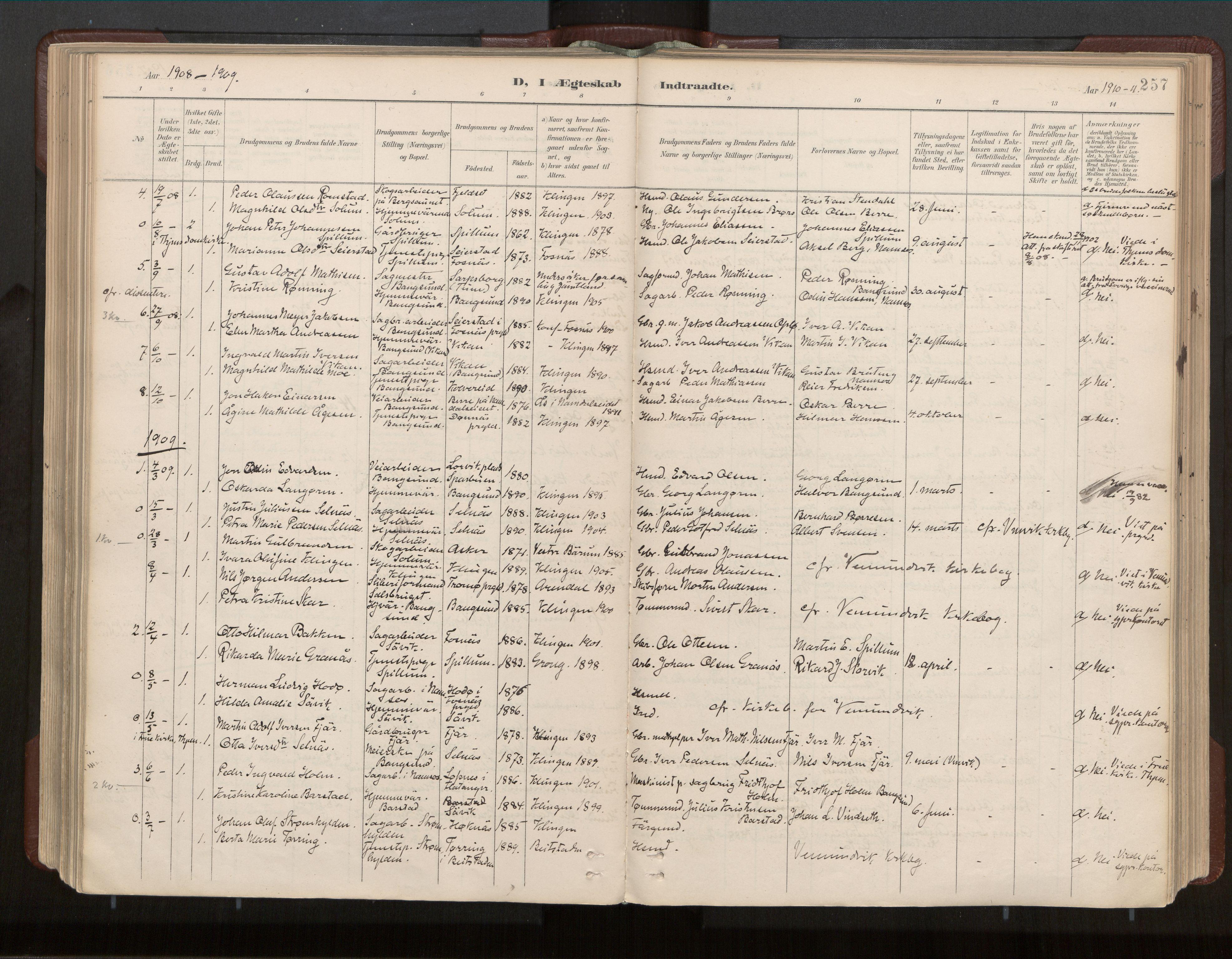 SAT, Ministerialprotokoller, klokkerbøker og fødselsregistre - Nord-Trøndelag, 770/L0589: Ministerialbok nr. 770A03, 1887-1929, s. 257