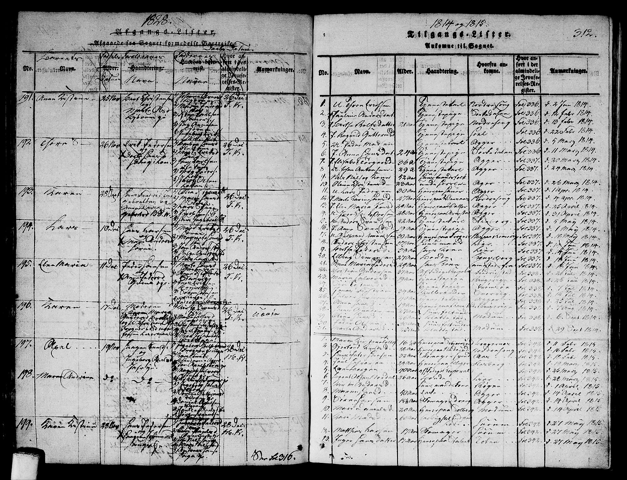 SAO, Asker prestekontor Kirkebøker, G/Ga/L0001: Klokkerbok nr. I 1, 1814-1830, s. 312