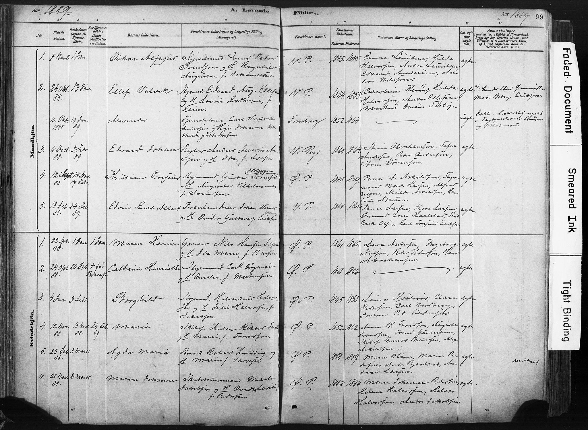 SAKO, Porsgrunn kirkebøker , F/Fa/L0008: Ministerialbok nr. 8, 1878-1895, s. 99