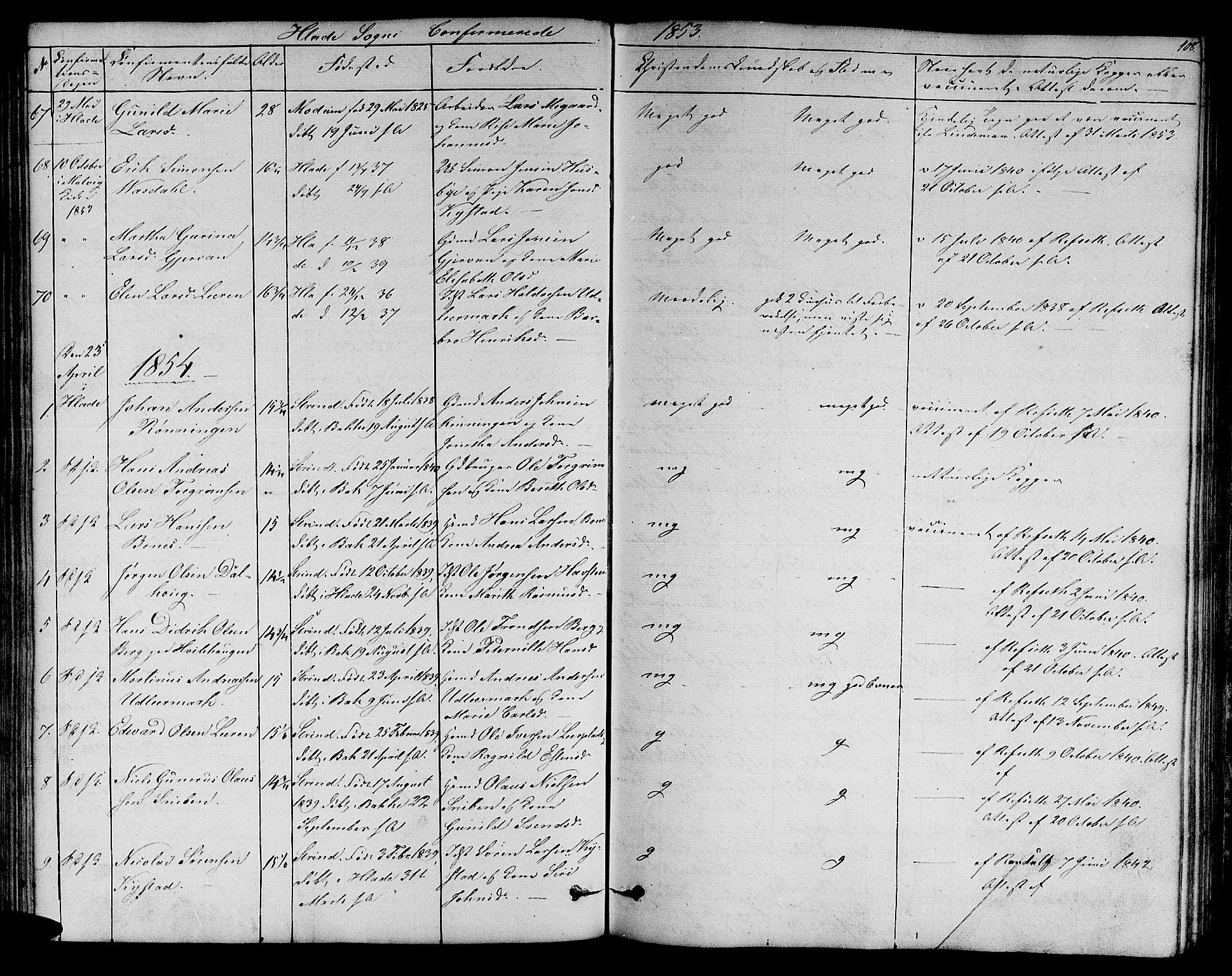 SAT, Ministerialprotokoller, klokkerbøker og fødselsregistre - Sør-Trøndelag, 606/L0310: Klokkerbok nr. 606C06, 1850-1859, s. 108