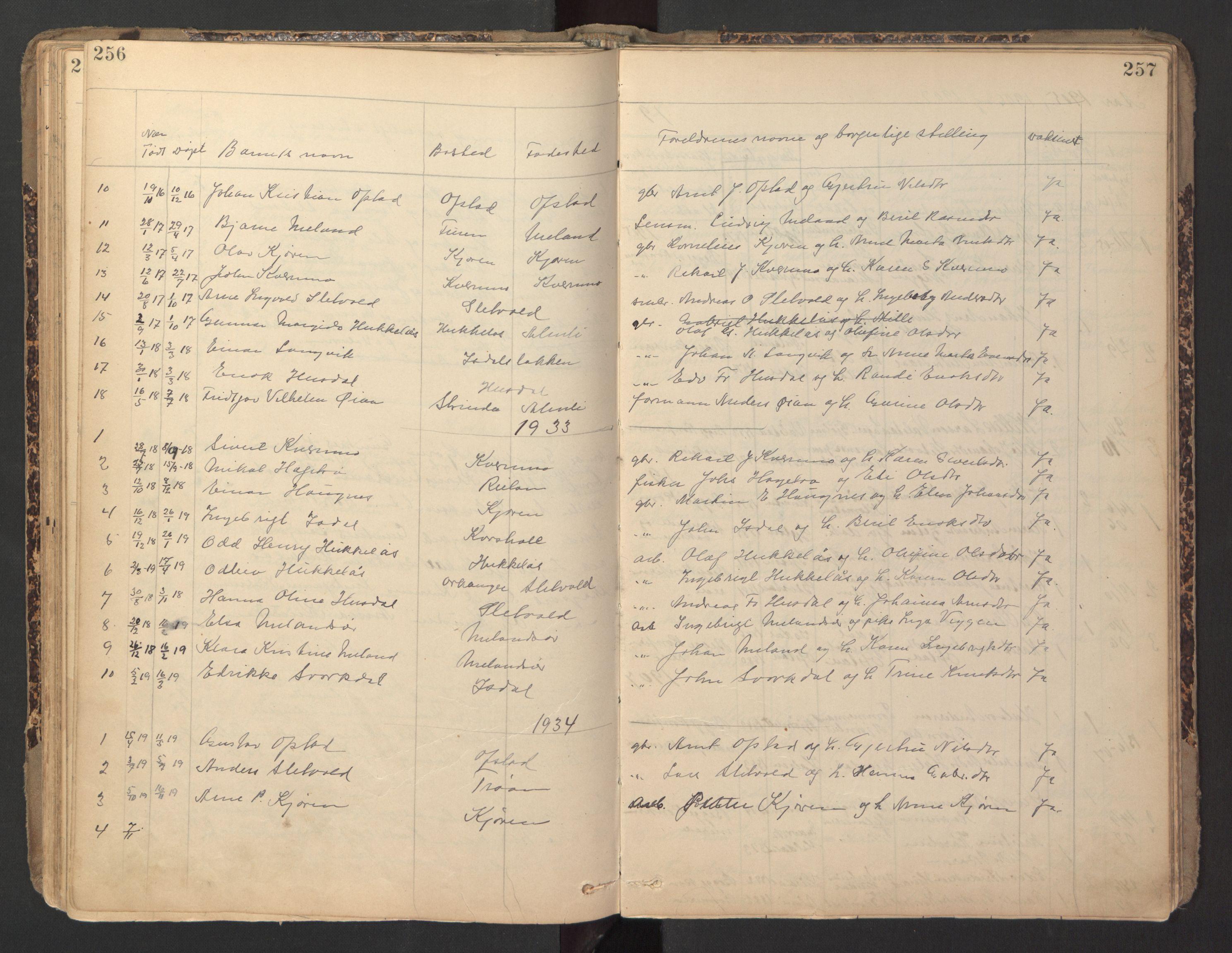 SAT, Ministerialprotokoller, klokkerbøker og fødselsregistre - Sør-Trøndelag, 670/L0837: Klokkerbok nr. 670C01, 1905-1946, s. 256-257