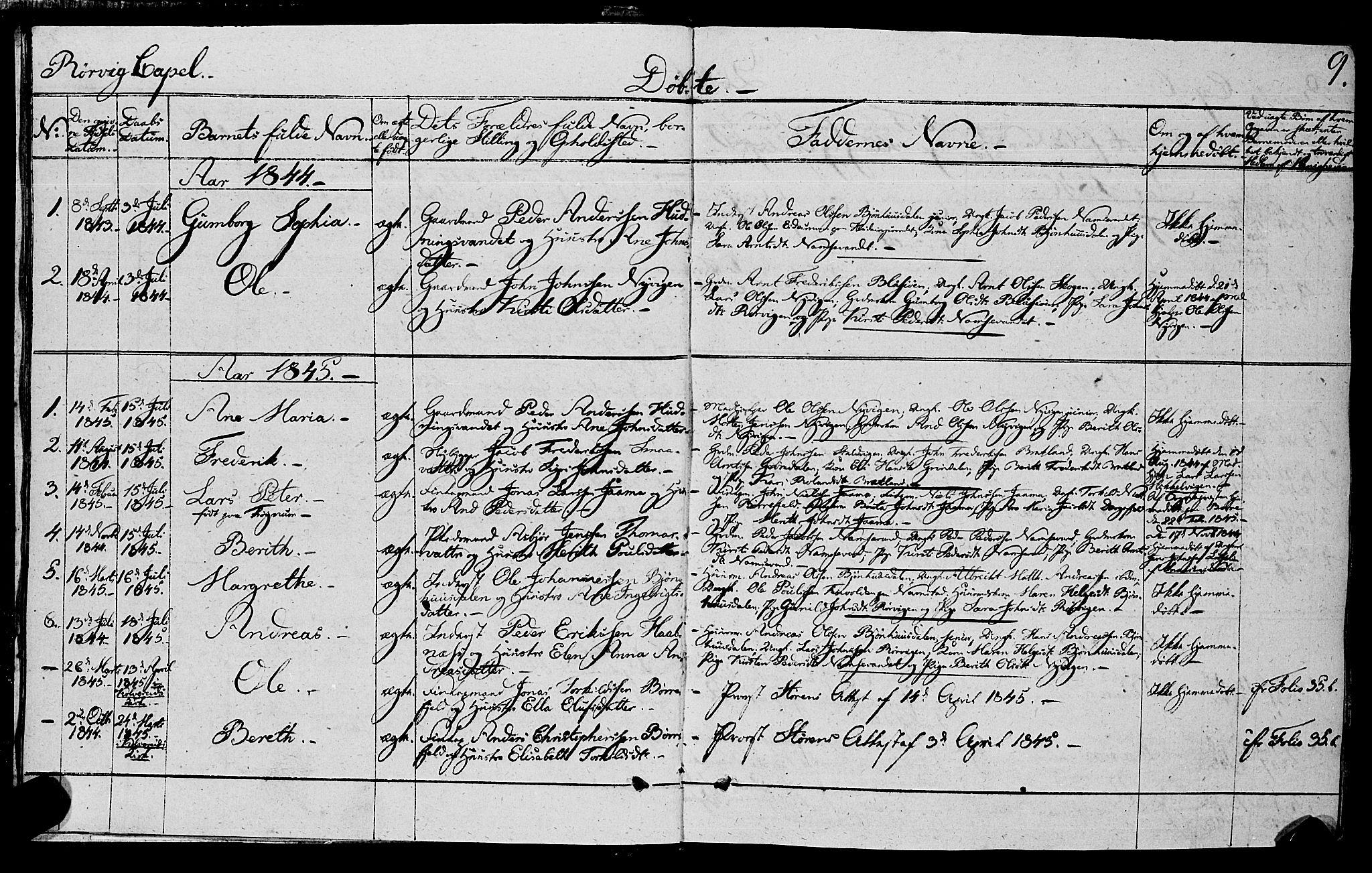 SAT, Ministerialprotokoller, klokkerbøker og fødselsregistre - Nord-Trøndelag, 762/L0538: Ministerialbok nr. 762A02 /1, 1833-1879, s. 9