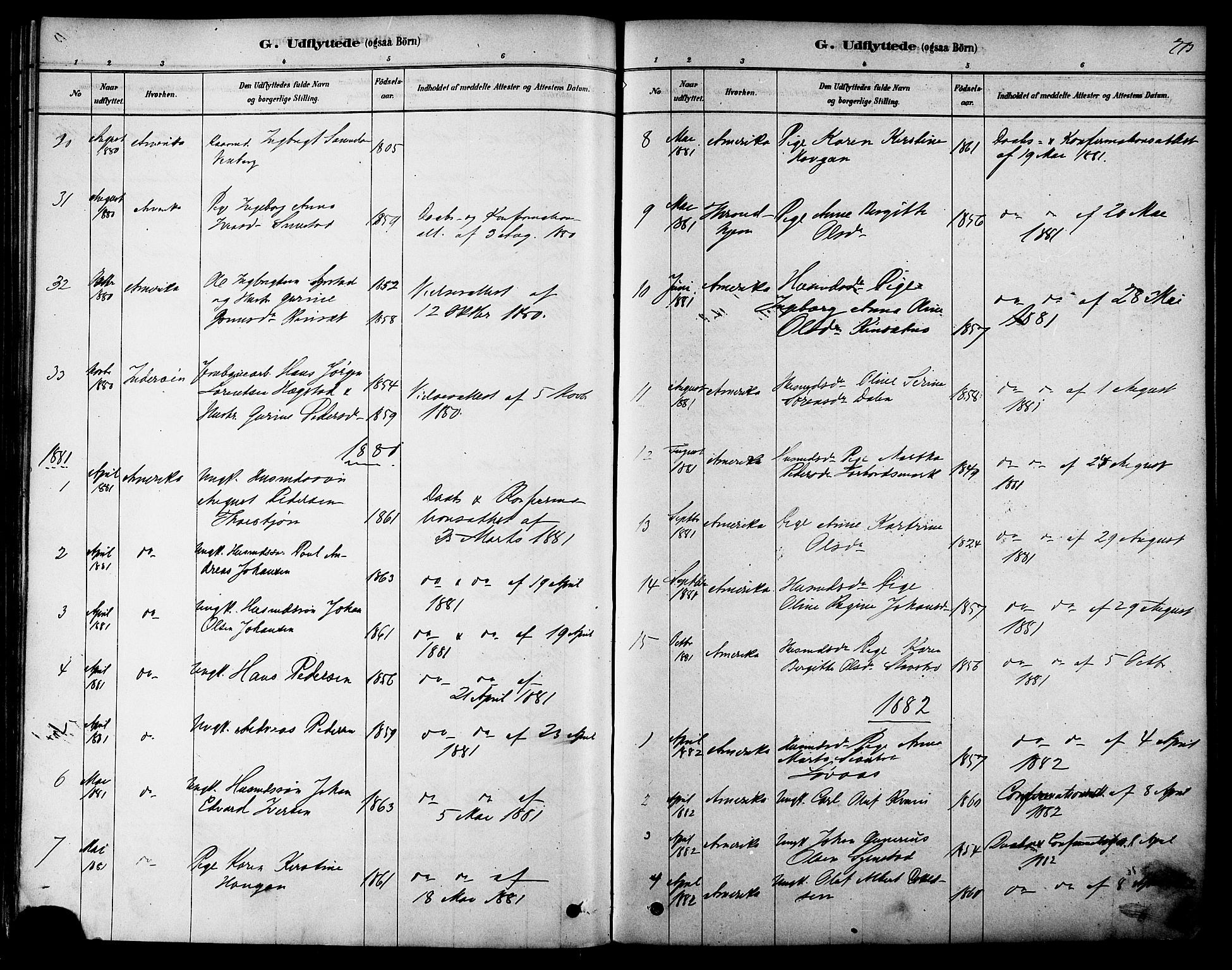 SAT, Ministerialprotokoller, klokkerbøker og fødselsregistre - Sør-Trøndelag, 616/L0410: Ministerialbok nr. 616A07, 1878-1893, s. 273