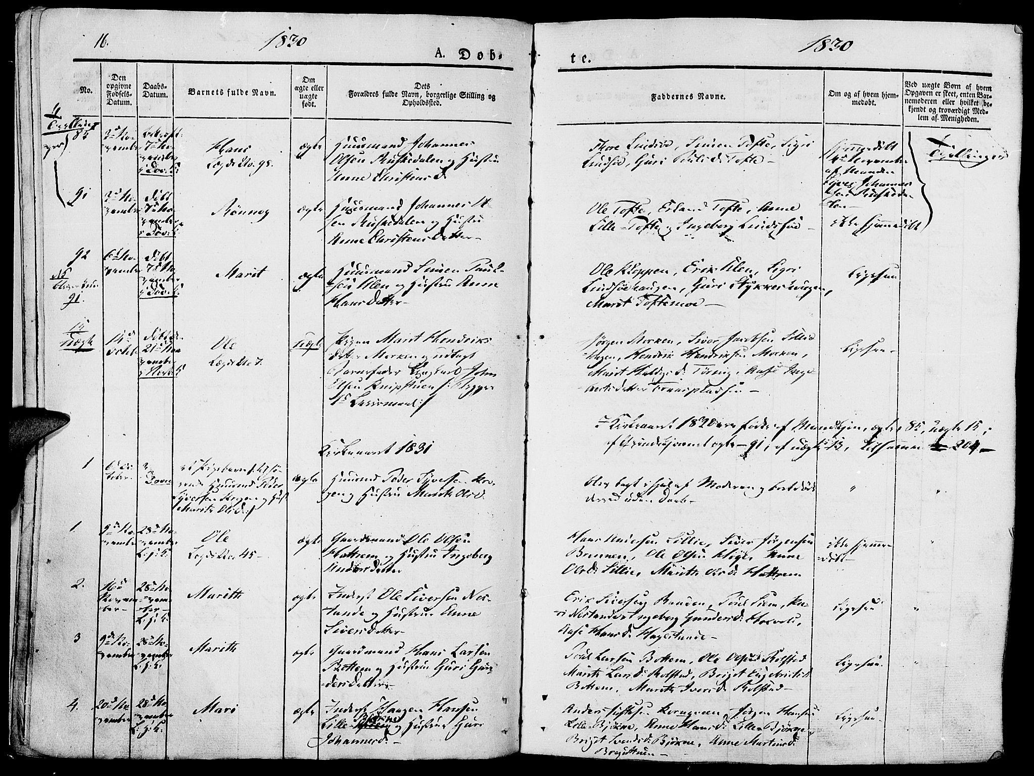 SAH, Lesja prestekontor, Ministerialbok nr. 5, 1830-1842, s. 16