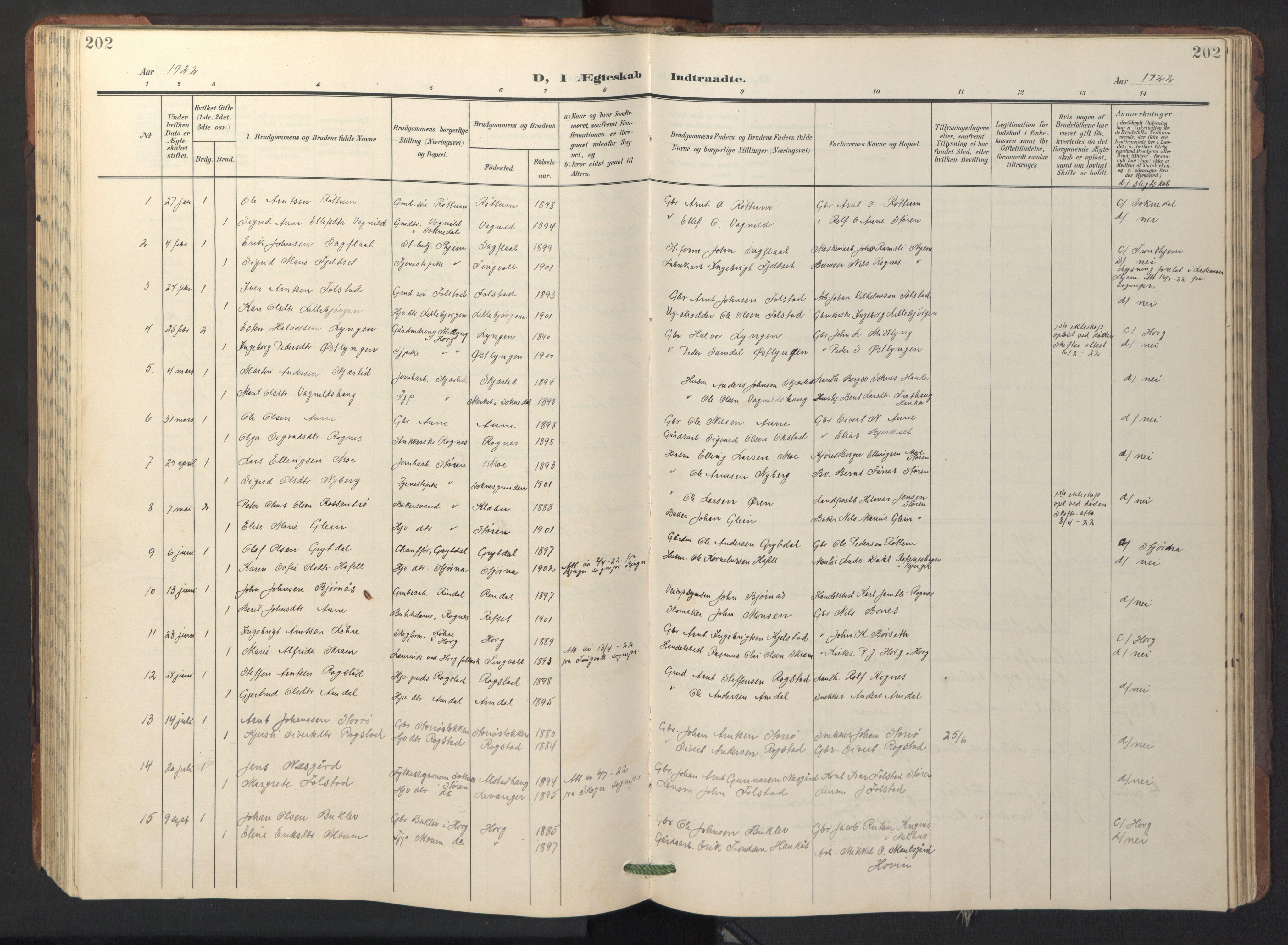 SAT, Ministerialprotokoller, klokkerbøker og fødselsregistre - Sør-Trøndelag, 687/L1019: Klokkerbok nr. 687C03, 1904-1931, s. 202