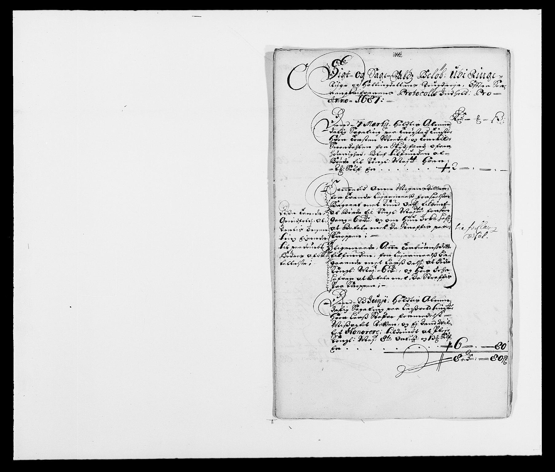 RA, Rentekammeret inntil 1814, Reviderte regnskaper, Fogderegnskap, R21/L1447: Fogderegnskap Ringerike og Hallingdal, 1687-1689, s. 39