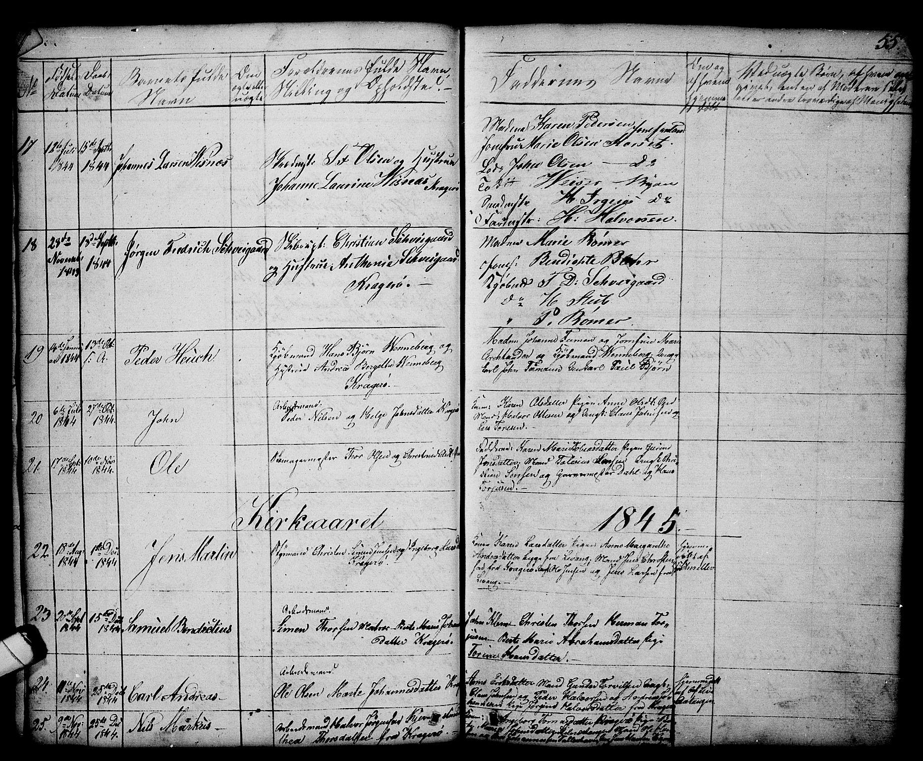 SAKO, Kragerø kirkebøker, G/Ga/L0003: Klokkerbok nr. 3, 1832-1852, s. 55