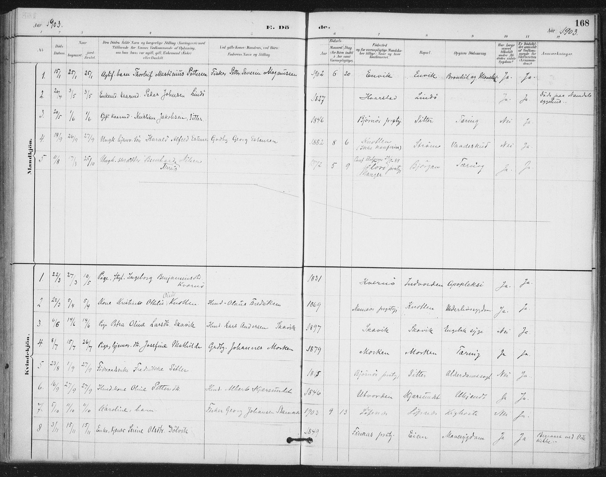 SAT, Ministerialprotokoller, klokkerbøker og fødselsregistre - Nord-Trøndelag, 772/L0603: Ministerialbok nr. 772A01, 1885-1912, s. 168
