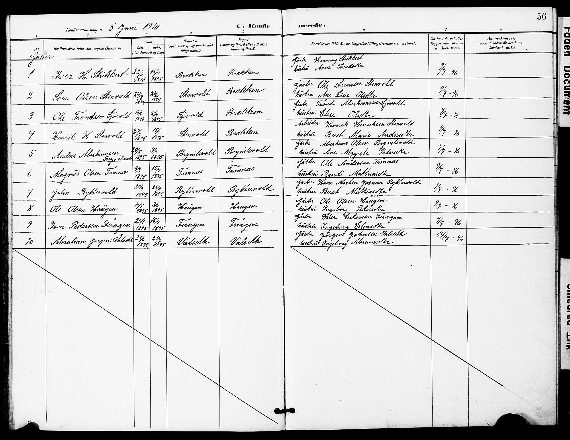SAT, Ministerialprotokoller, klokkerbøker og fødselsregistre - Sør-Trøndelag, 683/L0950: Klokkerbok nr. 683C02, 1897-1918, s. 56