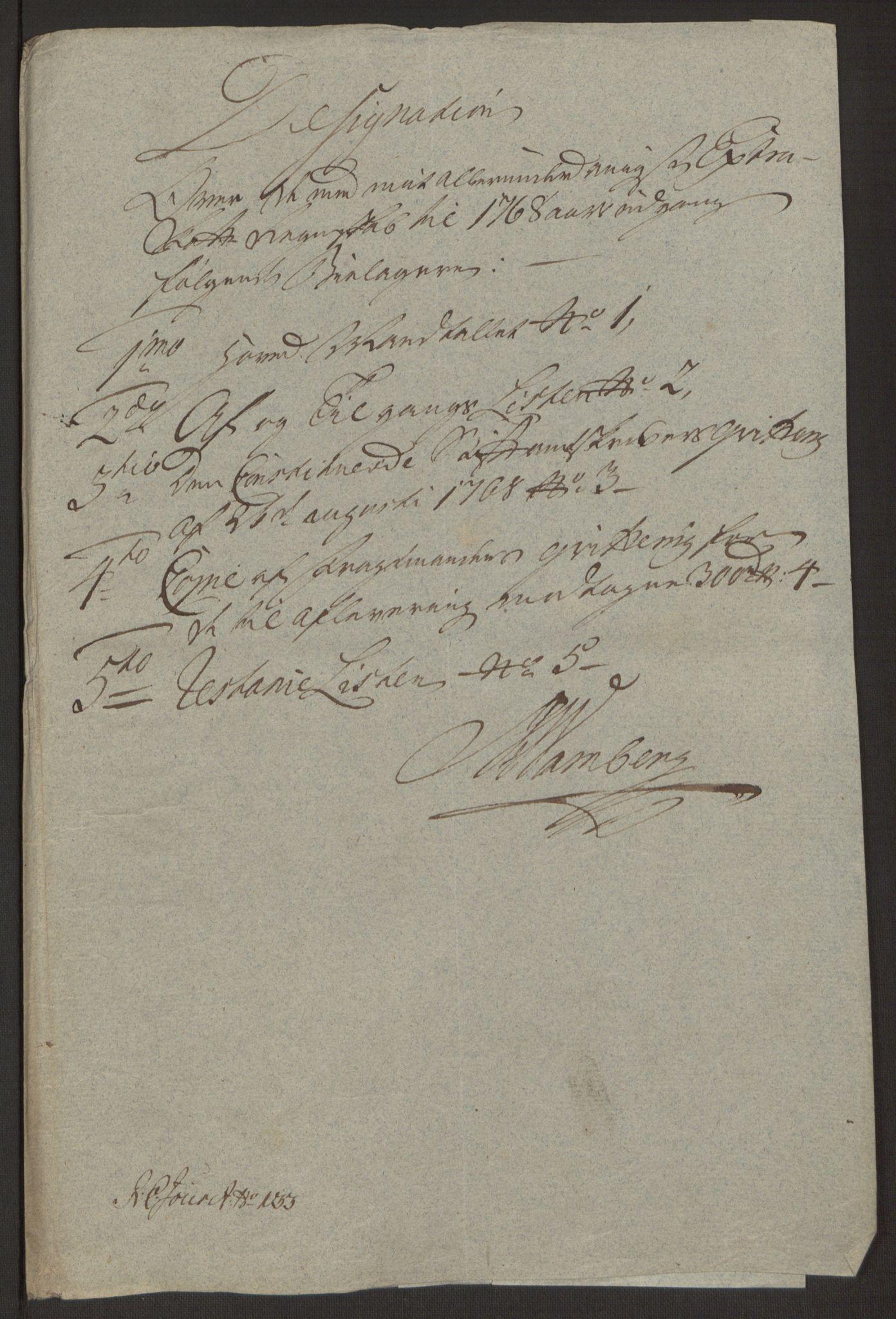 RA, Rentekammeret inntil 1814, Reviderte regnskaper, Byregnskaper, R/Ro/L0305: [O6] Kontribusjonsregnskap, 1762-1768, s. 385