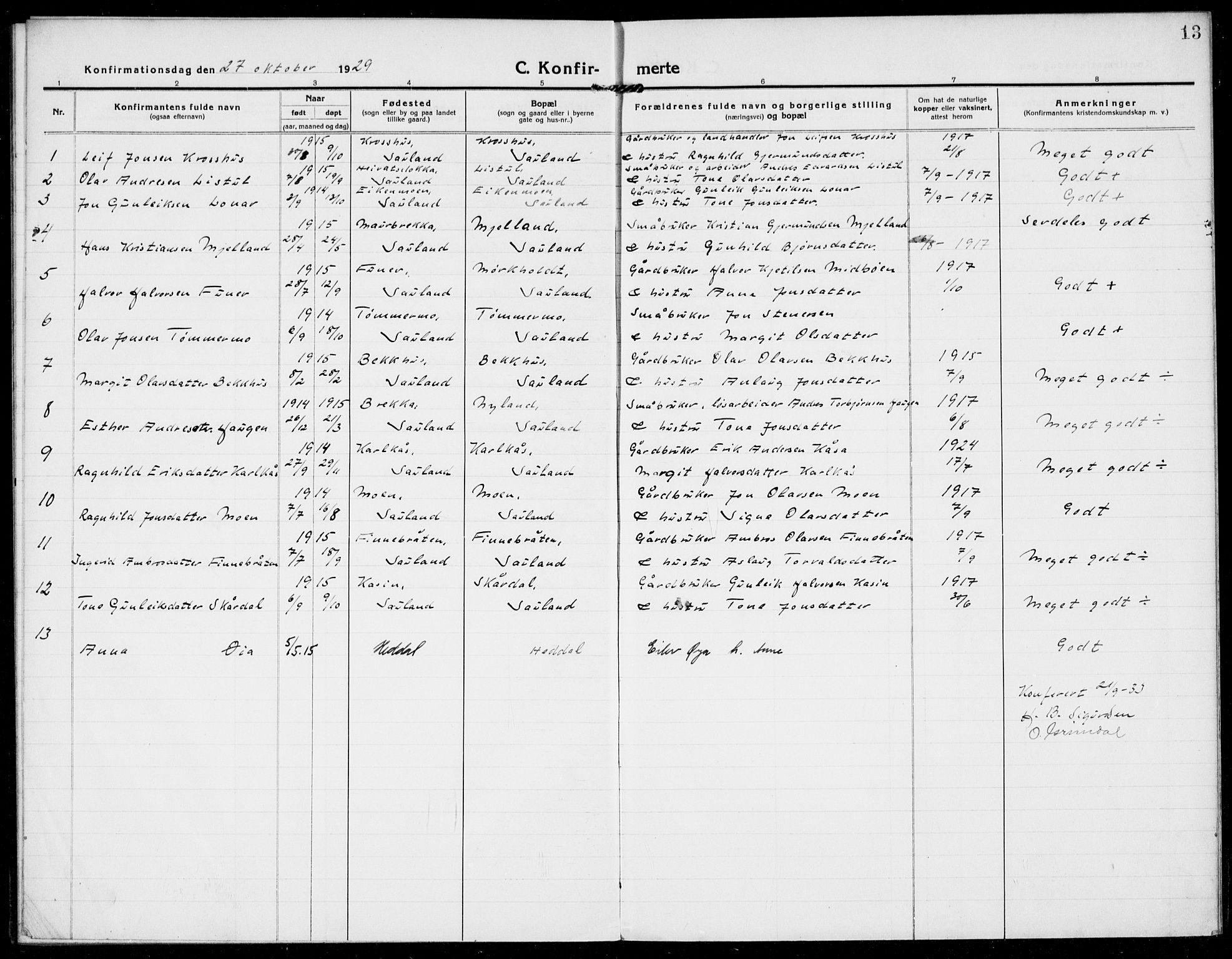 SAKO, Hjartdal kirkebøker, F/Fb/L0003: Ministerialbok nr. II 3, 1920-1932, s. 13