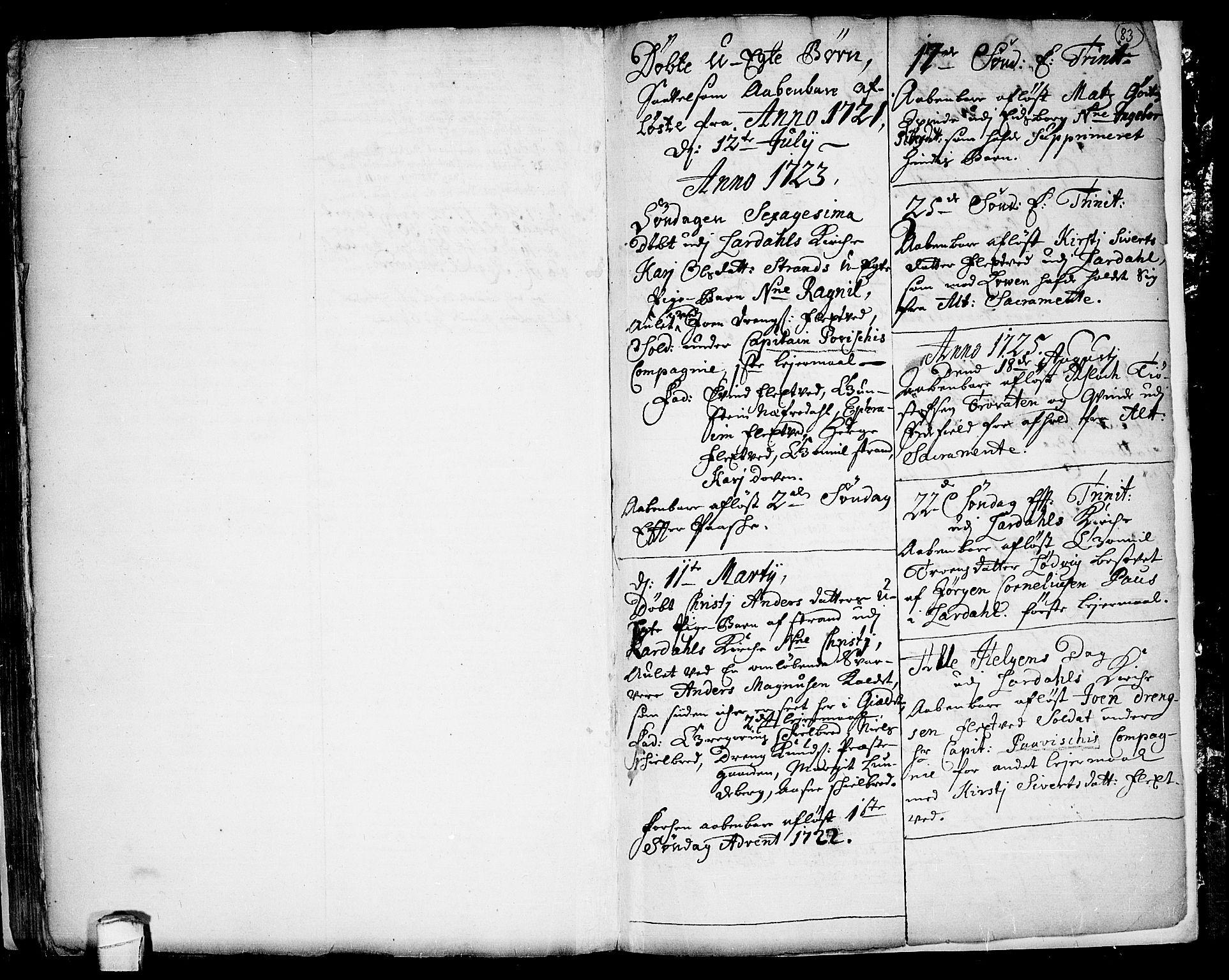 SAKO, Lårdal kirkebøker, F/Fa/L0001: Ministerialbok nr. I 1, 1721-1734, s. 83