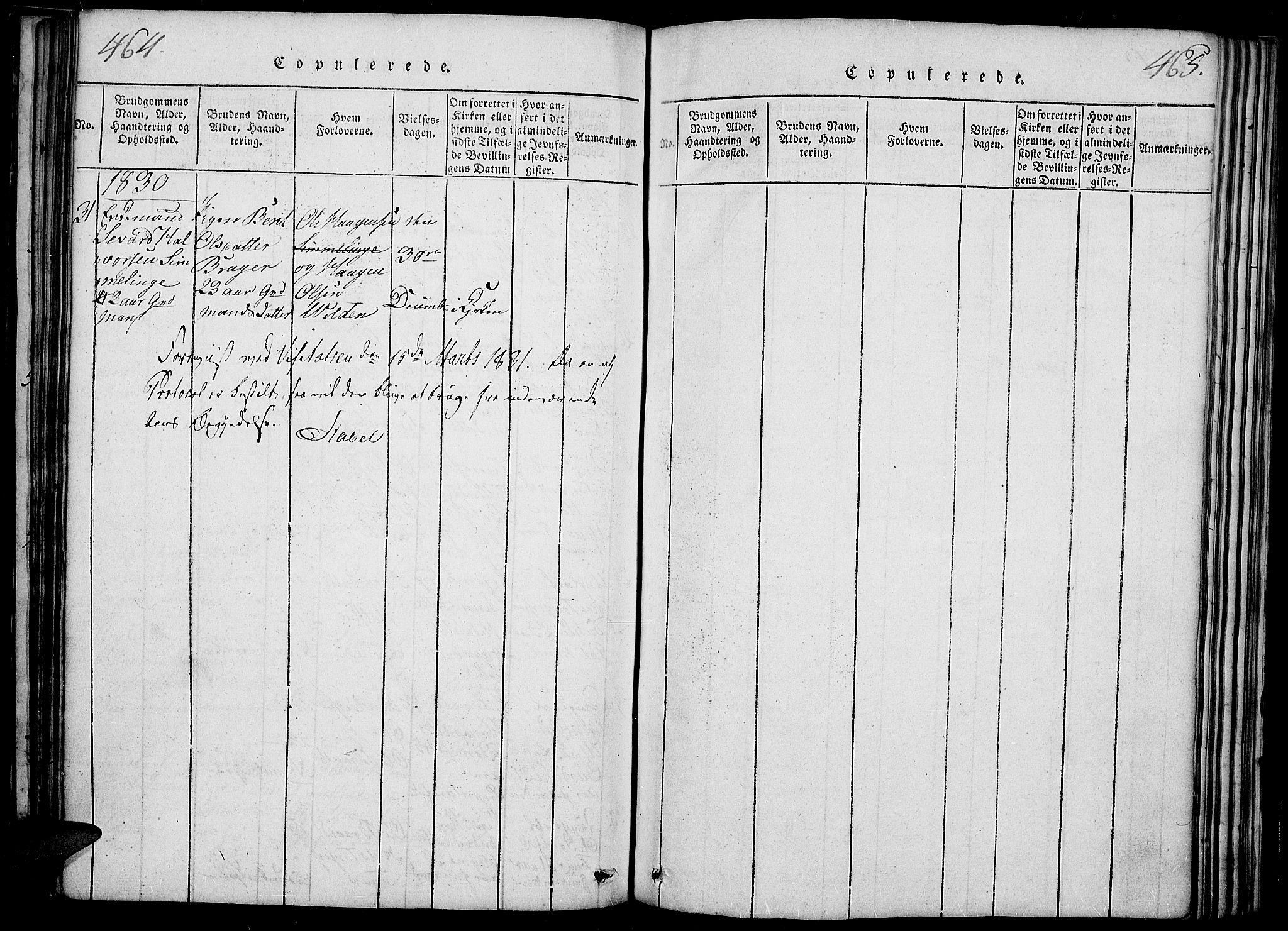 SAH, Slidre prestekontor, Ministerialbok nr. 2, 1814-1830, s. 464-465