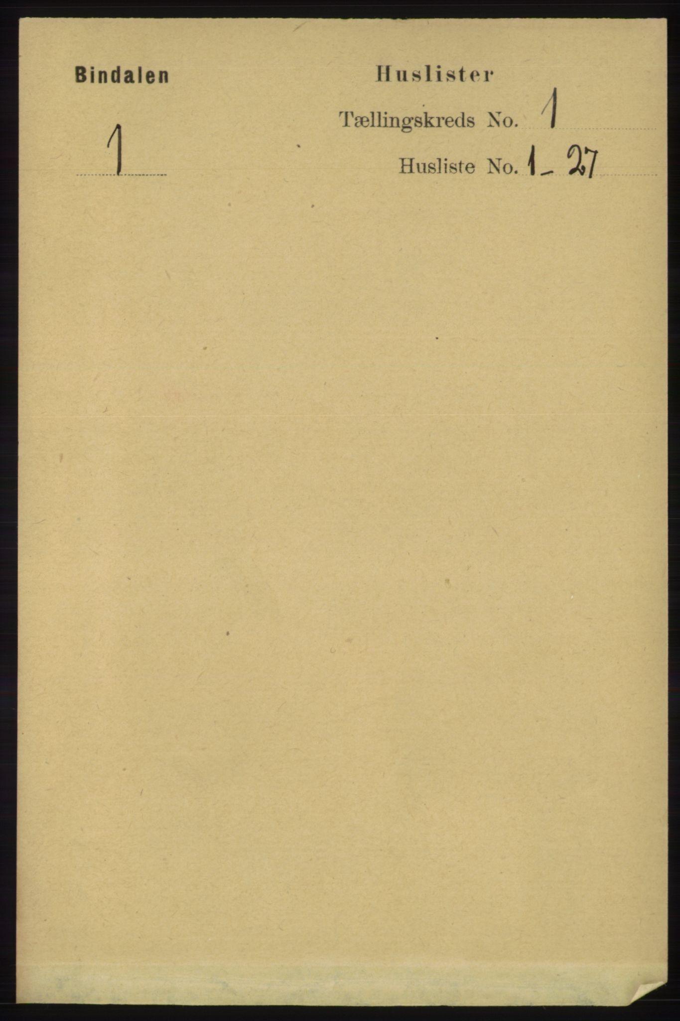 RA, Folketelling 1891 for 1811 Bindal herred, 1891, s. 26