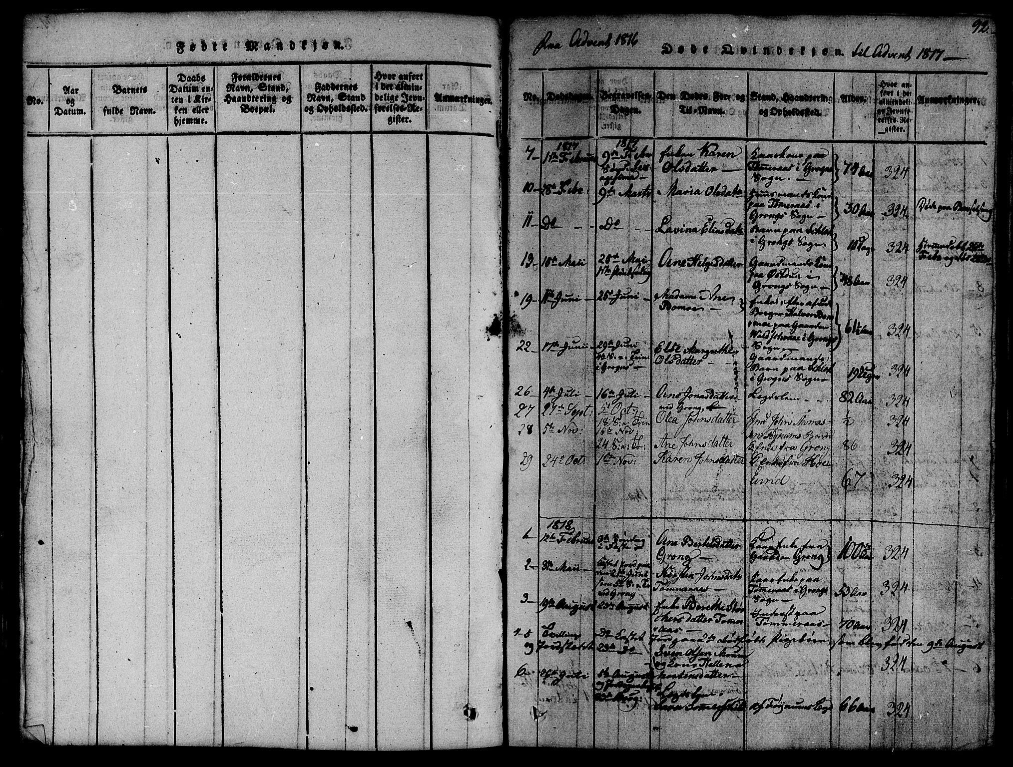 SAT, Ministerialprotokoller, klokkerbøker og fødselsregistre - Nord-Trøndelag, 758/L0521: Klokkerbok nr. 758C01, 1816-1825, s. 92