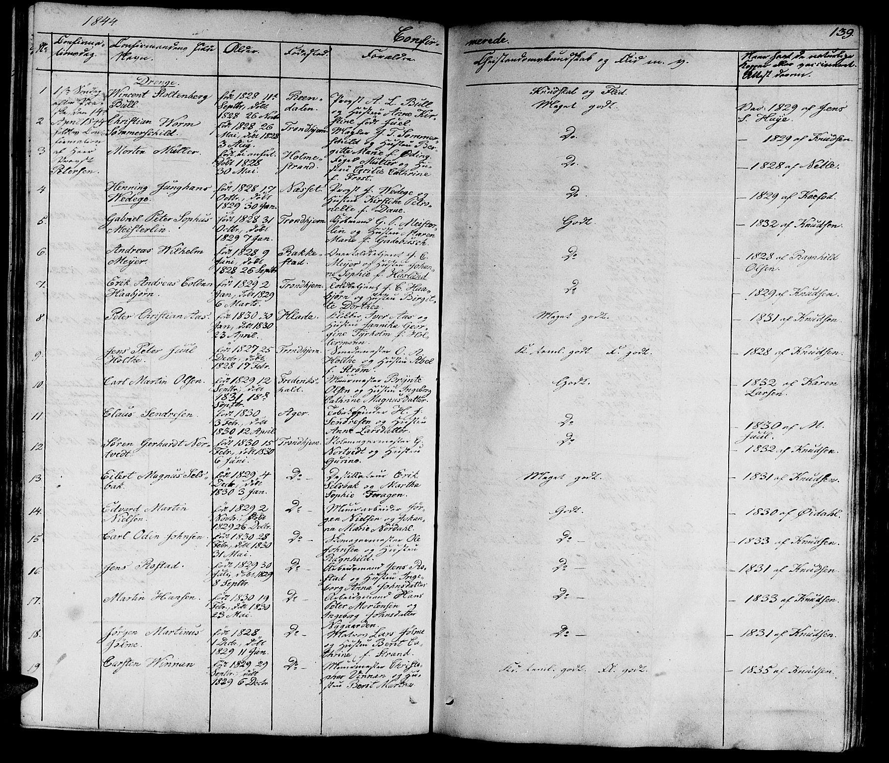 SAT, Ministerialprotokoller, klokkerbøker og fødselsregistre - Sør-Trøndelag, 602/L0136: Klokkerbok nr. 602C04, 1833-1845, s. 139
