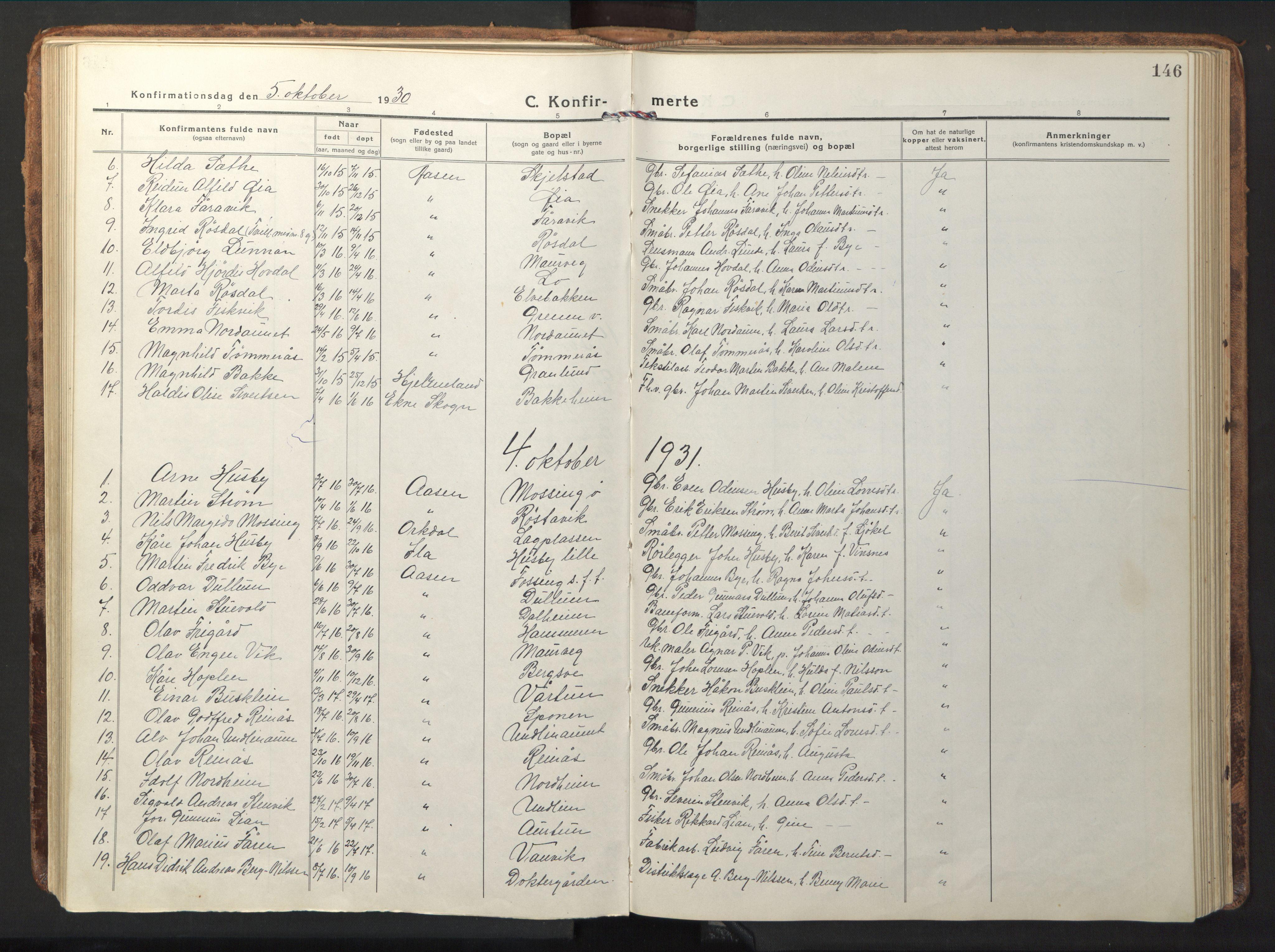 SAT, Ministerialprotokoller, klokkerbøker og fødselsregistre - Nord-Trøndelag, 714/L0136: Klokkerbok nr. 714C05, 1918-1957, s. 146