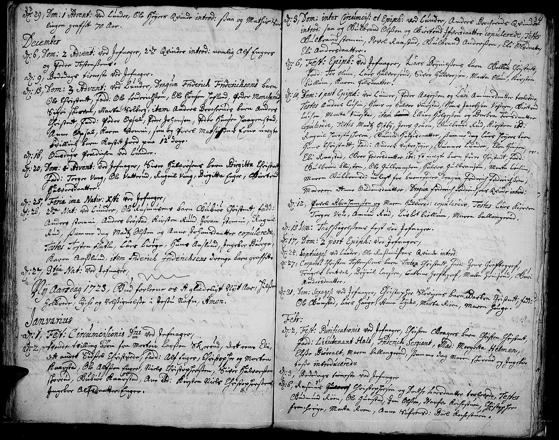 SAH, Jevnaker prestekontor, Ministerialbok nr. 1, 1718-1725, s. 33-34